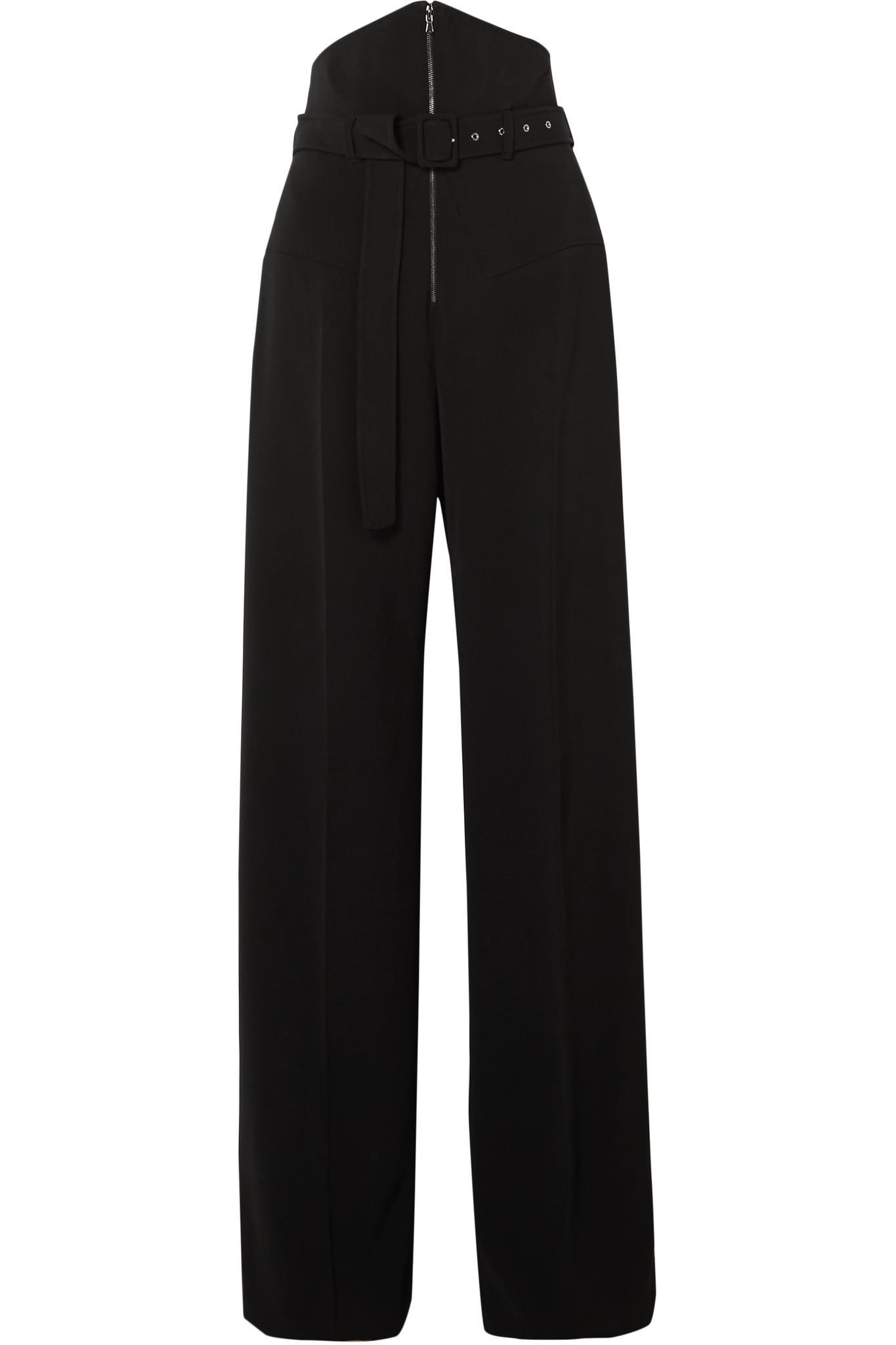 Belted Cady Wide-leg Pants - Black Antonio Berardi Get Authentic Cheap Online FItcc7L9u