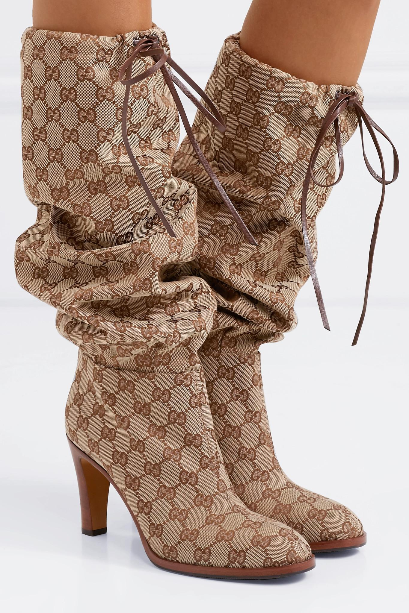 d173e9a59546 Lyst - Gucci Leather-trimmed Coated-canvas Knee Boots in Natural