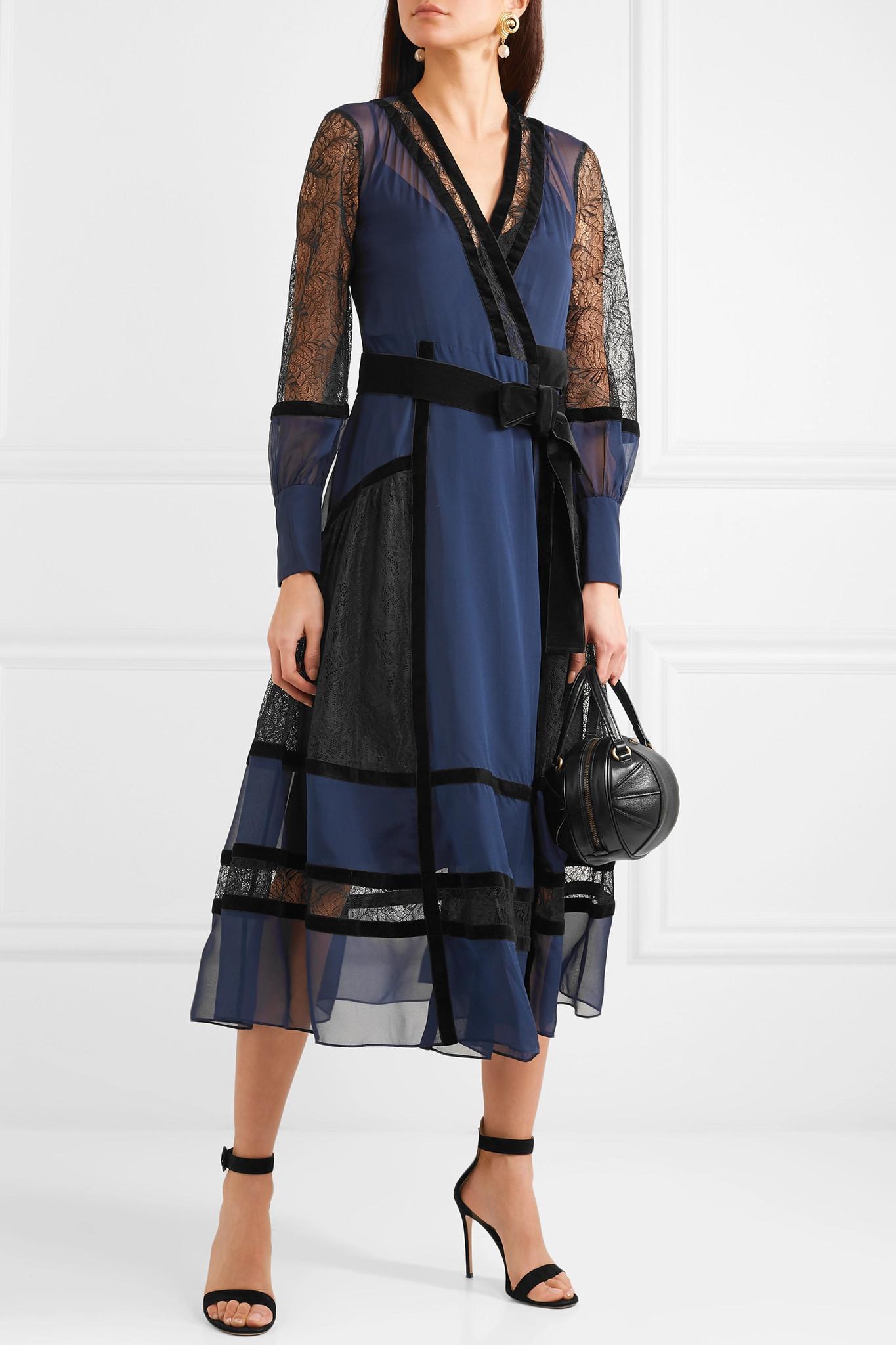 46b0d9bf011ea Diane von Furstenberg - Blue Forrest Velvet-trimmed Silk-chiffon And Lace Wrap  Dress. View fullscreen
