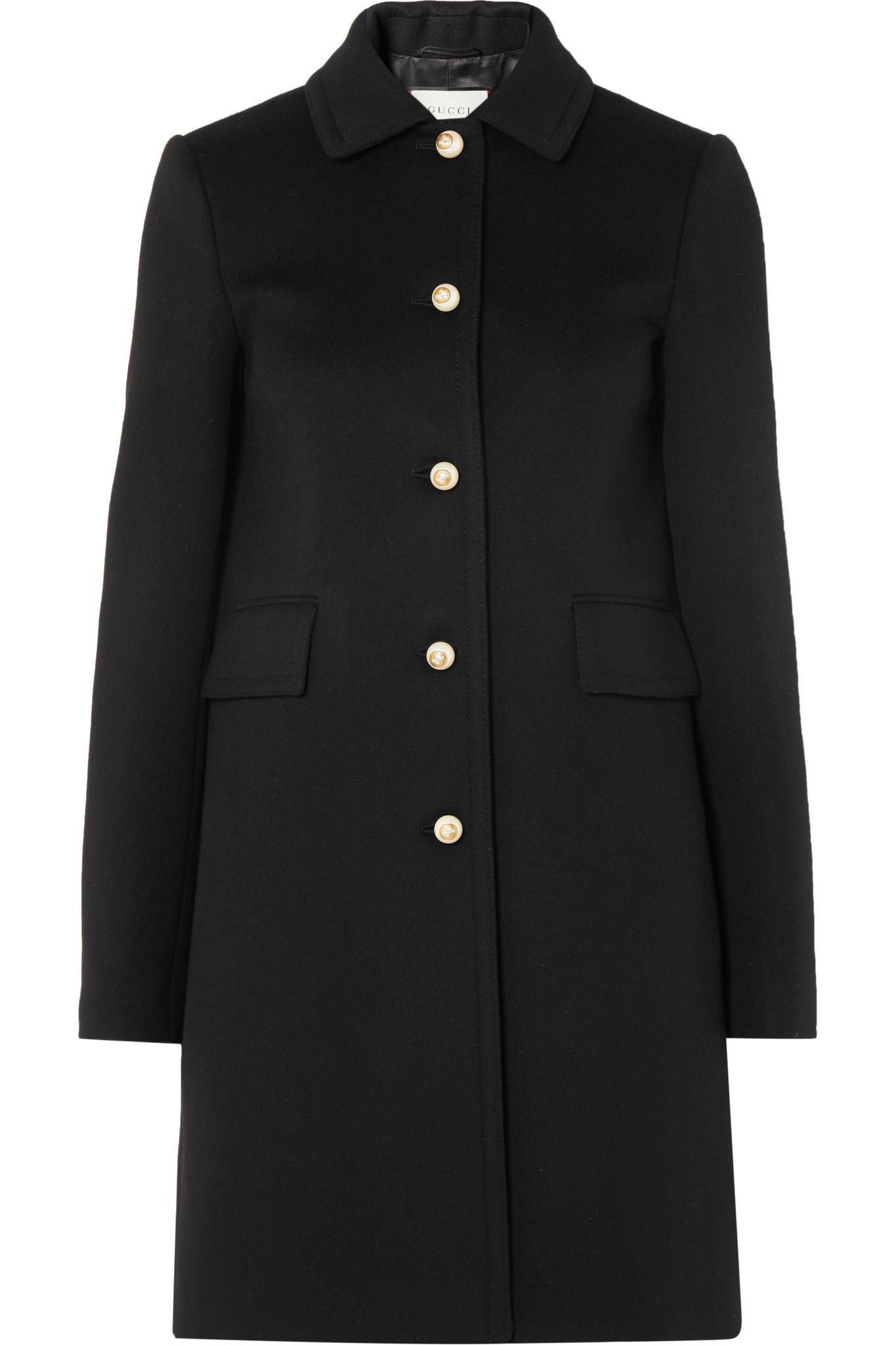 9cfc2844d06f2 Gucci - Black Faux Pearl-embellished Wool Coat - Lyst. View fullscreen
