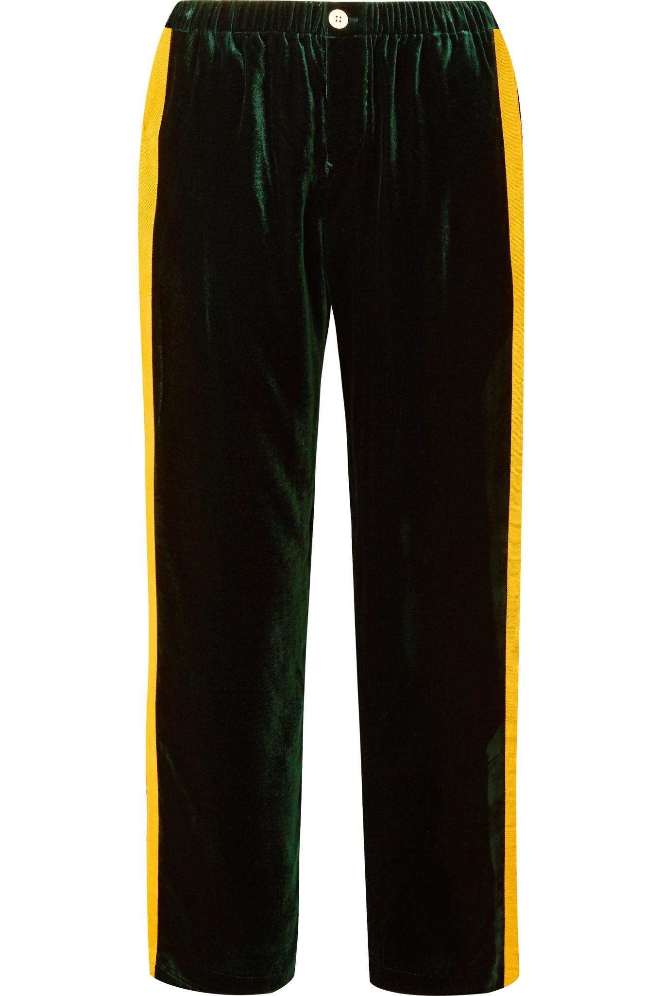 05c64eedbe58 sleepy-jones-emerald-Marina-Grosgrain-trimmed-Velvet-Pajama-Pants.jpeg
