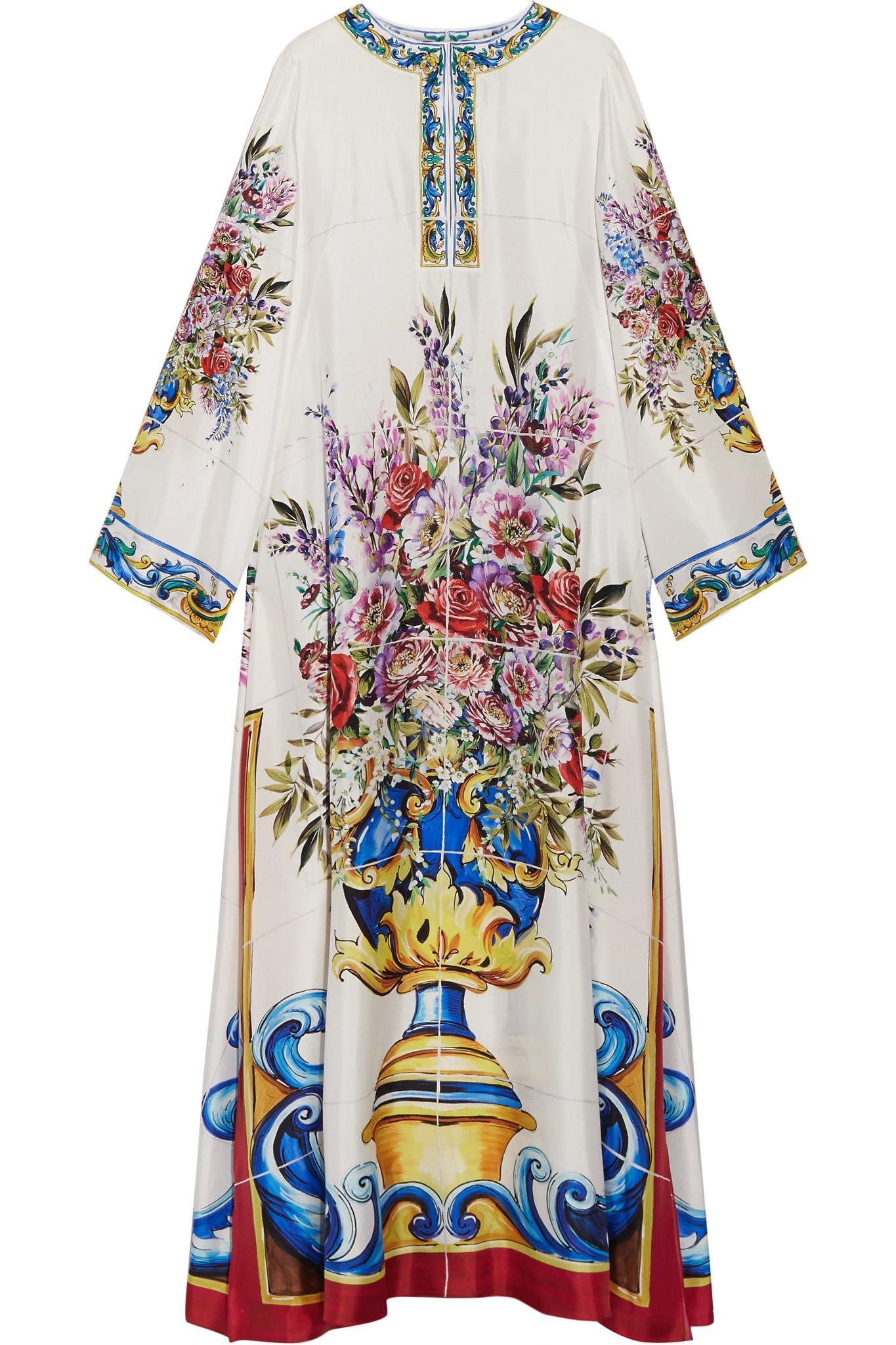 4f6c60c4354d6 Lyst - Dolce   Gabbana Printed Silk-twill Kaftan in Blue
