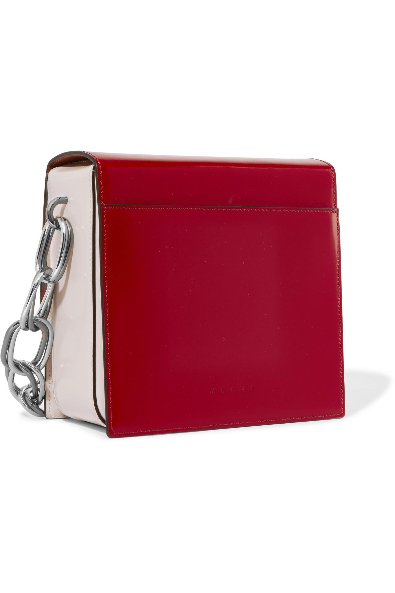 Boîte Sac À Bandoulière-cuir Verni - Marni Rouge h8LHLzg4X