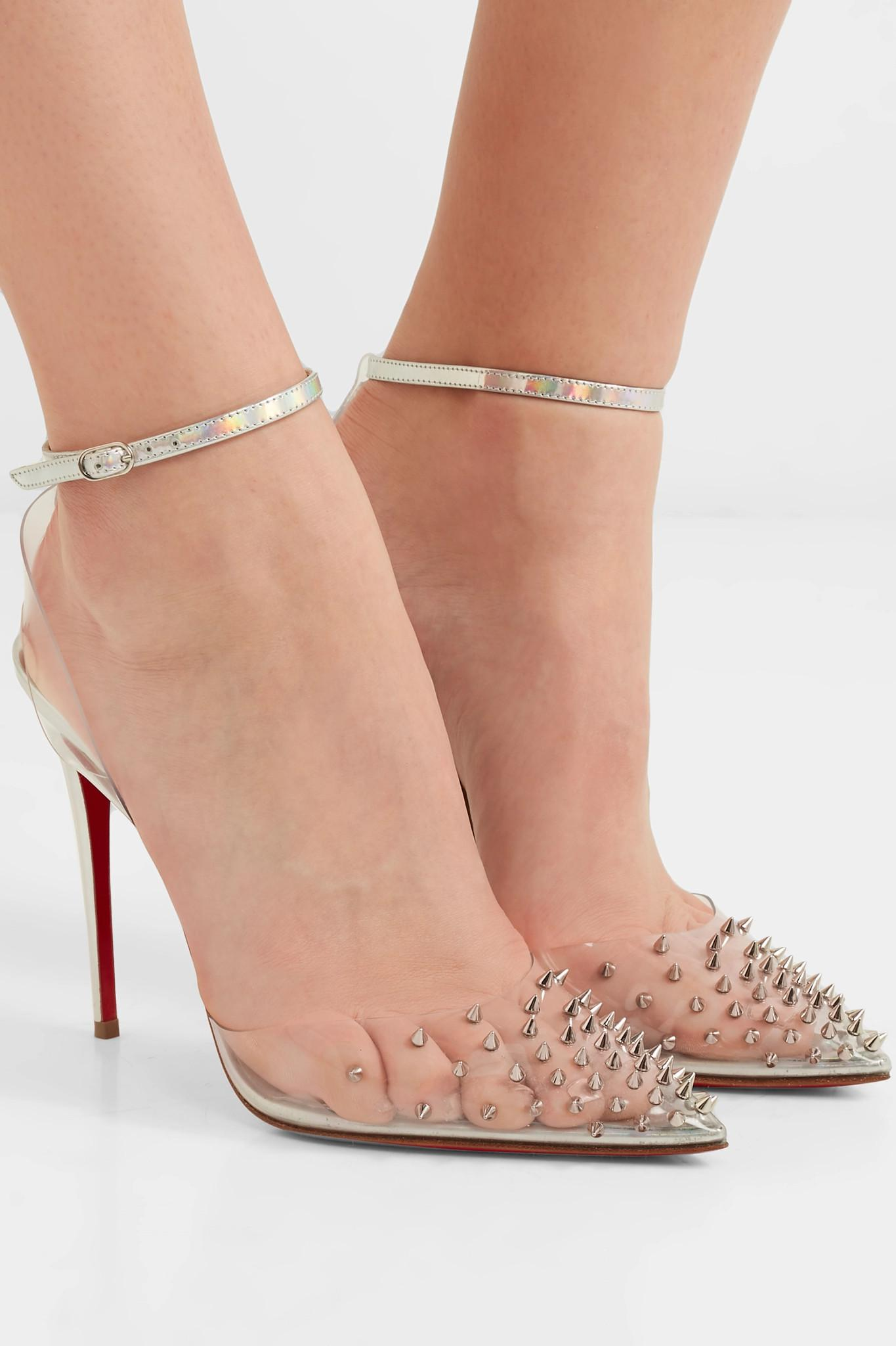 6e3c9990f1e9 Christian Louboutin - Metallic Spikoo 100 Spiked Pvc And Iridescent Leather  Pumps - Lyst. View fullscreen
