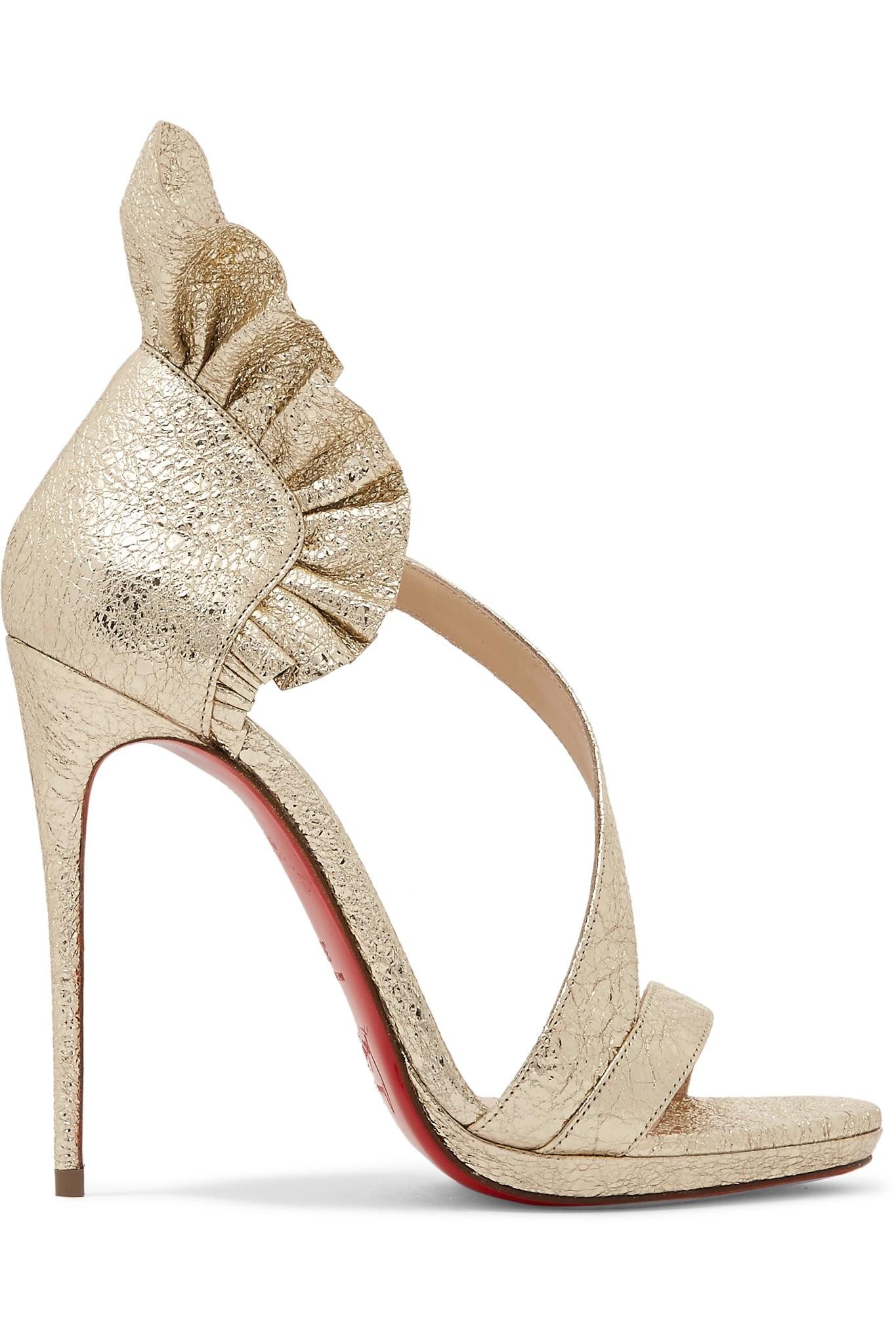 0f18c5b5157d1 Christian Louboutin. Women s Colankle 120 Ruffled Metallic Cracked-leather  Sandals