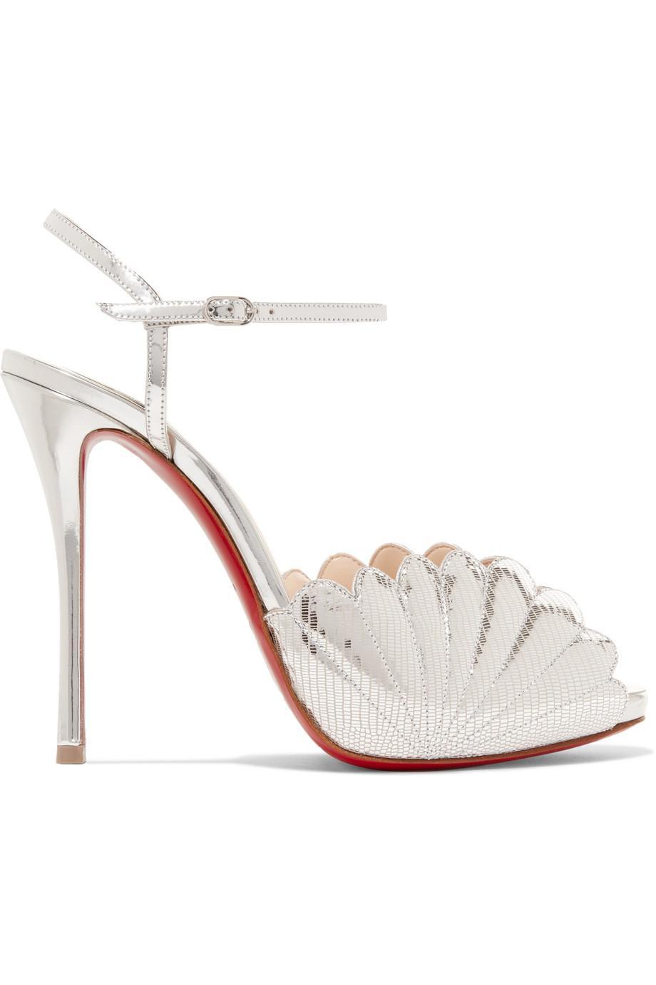 Botticella 120 Metallic Lizard-effect Leather Sandals - Silver Christian Louboutin 3U1J94K1
