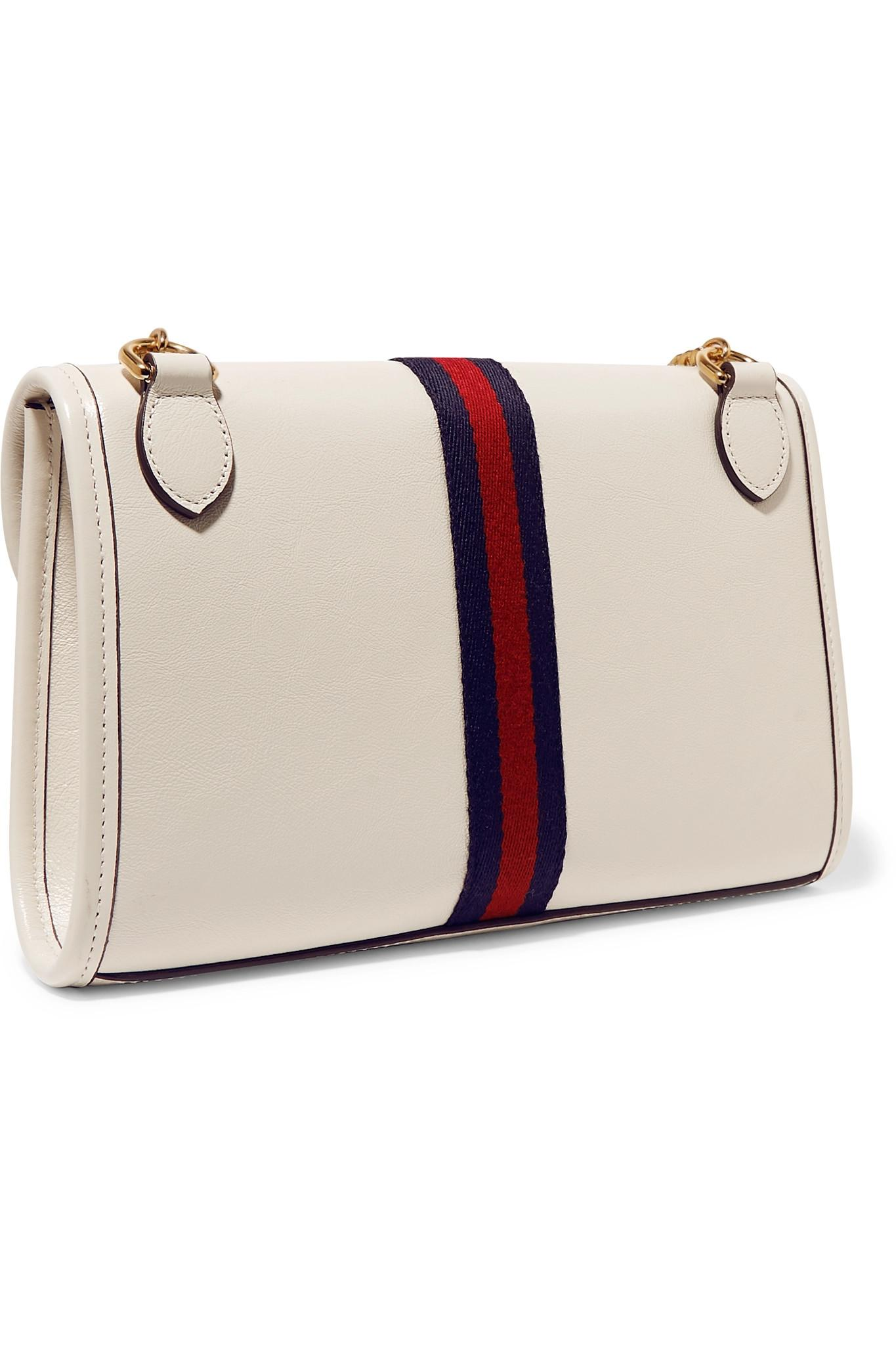365ebb56427f Lyst - Gucci Rajah Small Embellished Leather Shoulder Bag in White