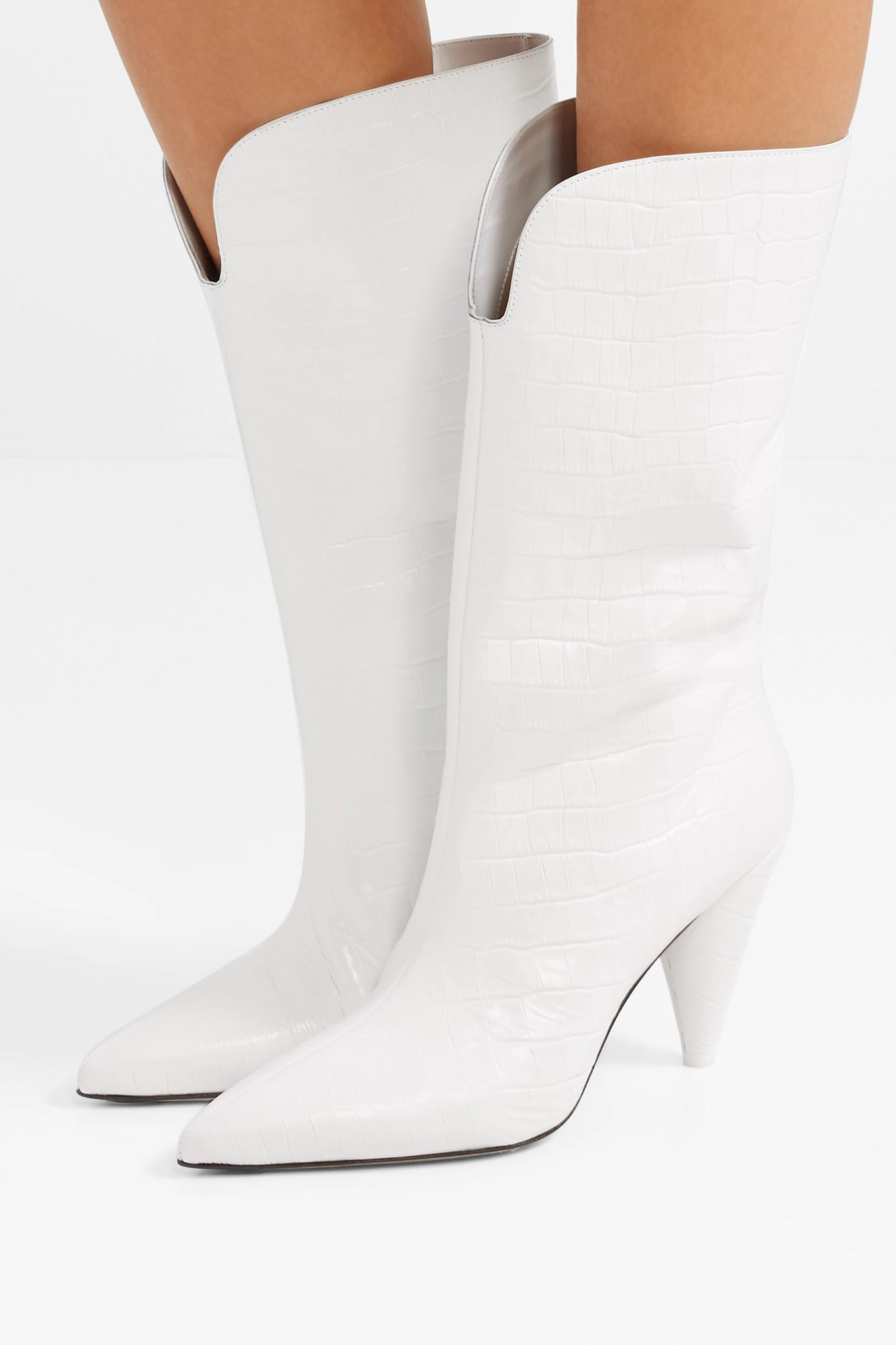 Lyst Blanc Coloris Betta Croco Cuir En Effet Bottes Attico rwTr8qOx