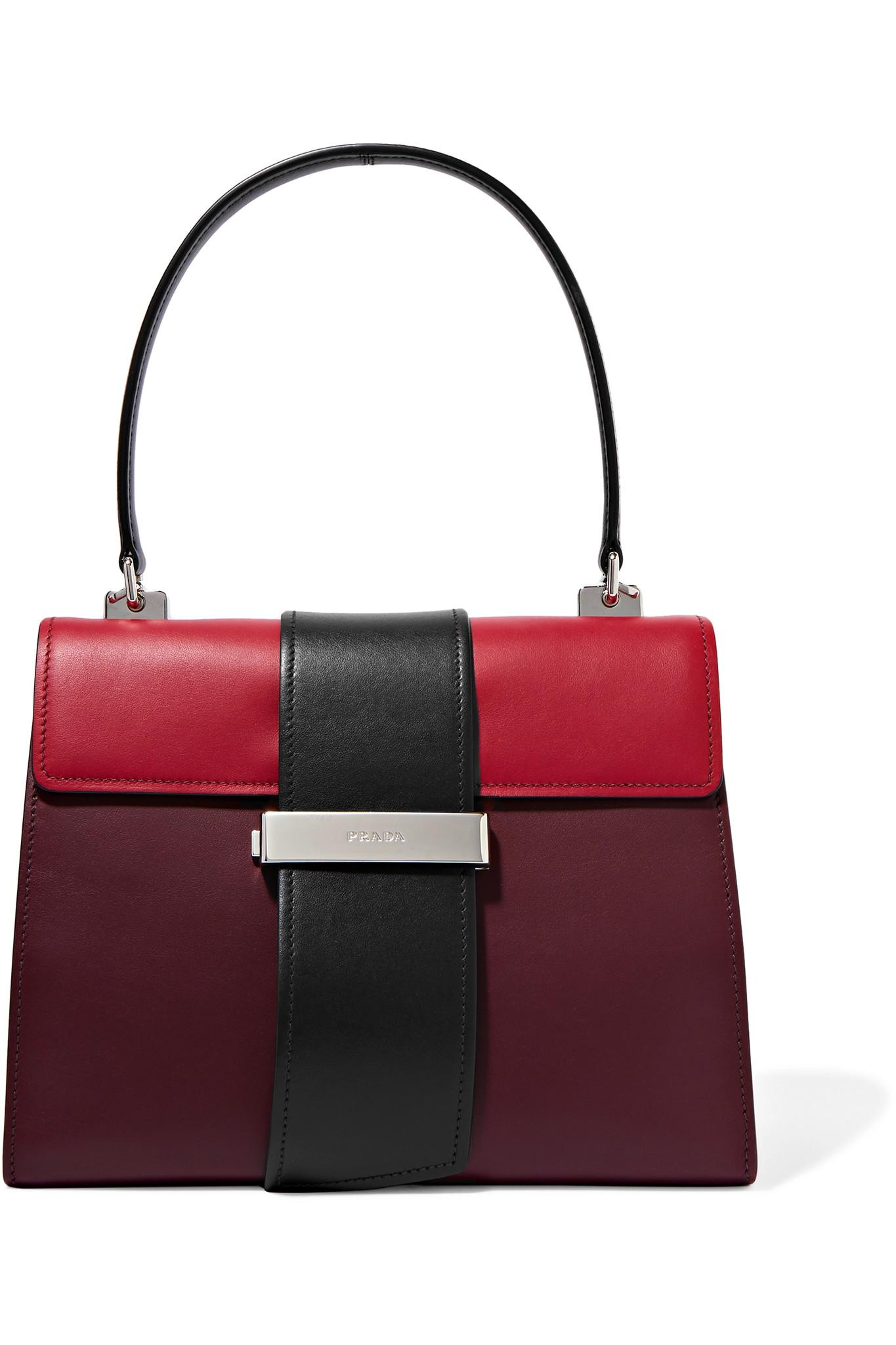 5ee1375d737ade Prada Metal Ribbon Color-block Leather Tote in Red - Lyst