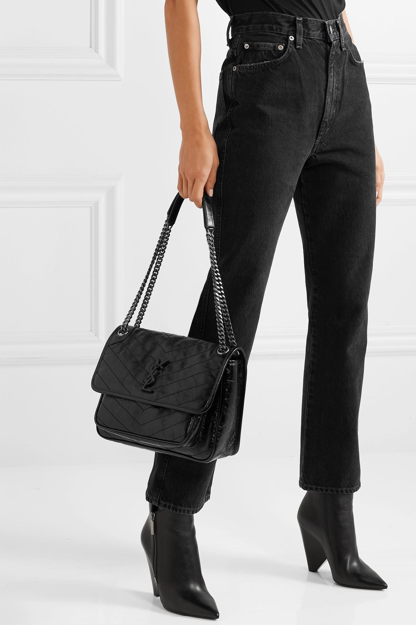 a9b007b376ff Saint Laurent - Black Niki Medium Quilted Crinkled Patent-leather Shoulder  Bag - Lyst. View fullscreen