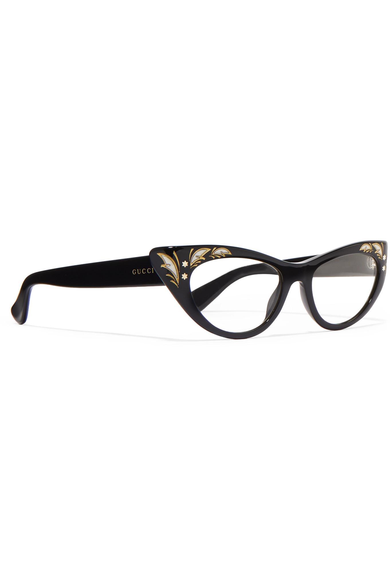 8e6da18759 Lyst - Gucci Cat-eye Acetate Optical Glasses in Black