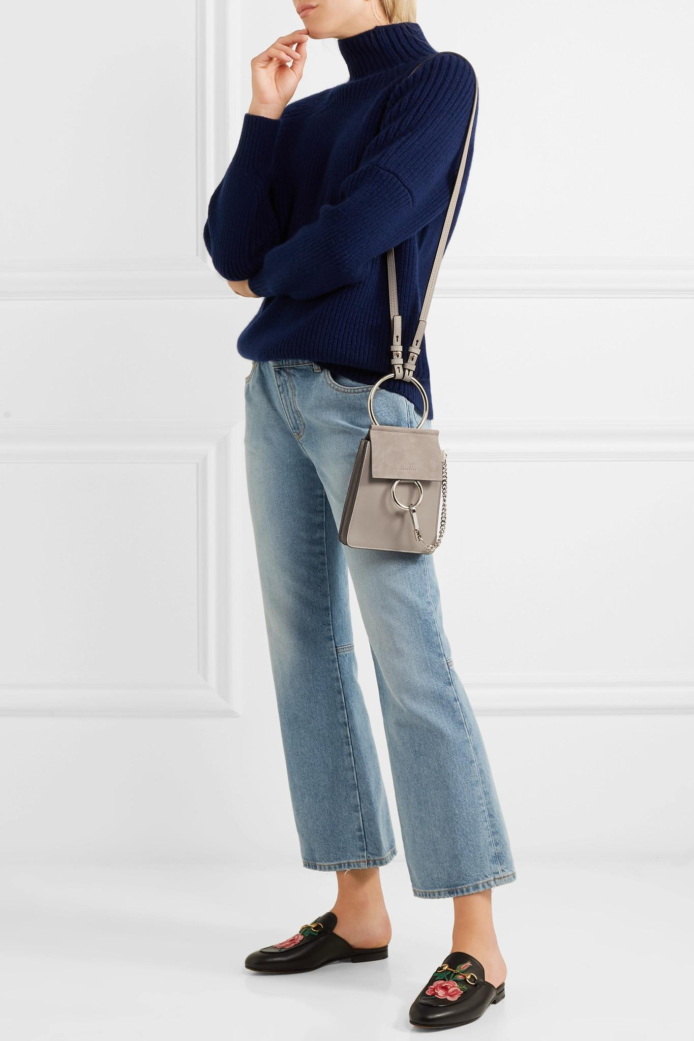 a65a5e25c80f5 Lyst - Chloé Faye Bracelet Mini Leather And Suede Shoulder Bag in Gray