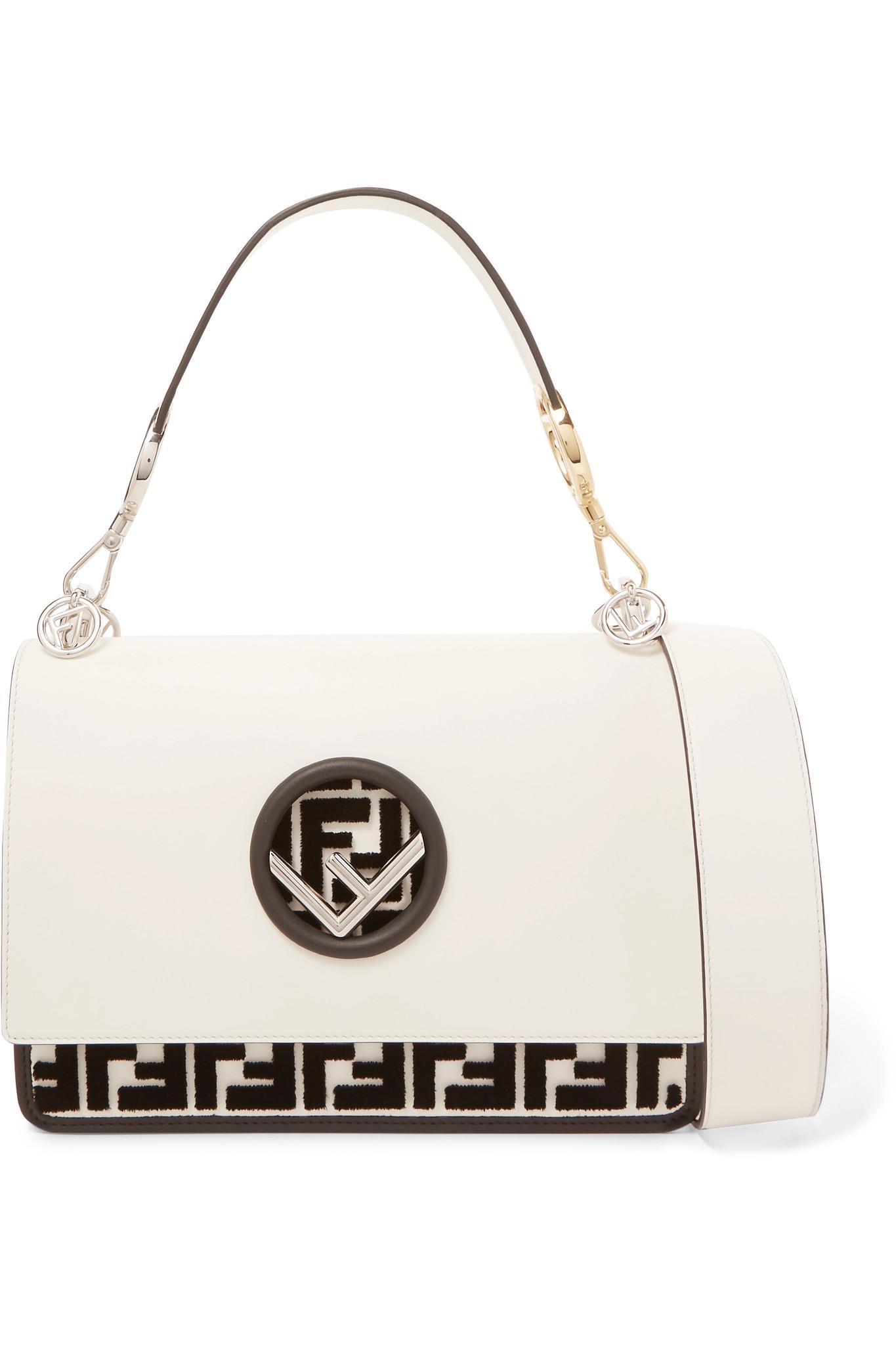 713705e55b9 Fendi Kan I Flocked Leather Shoulder Bag in White - Lyst