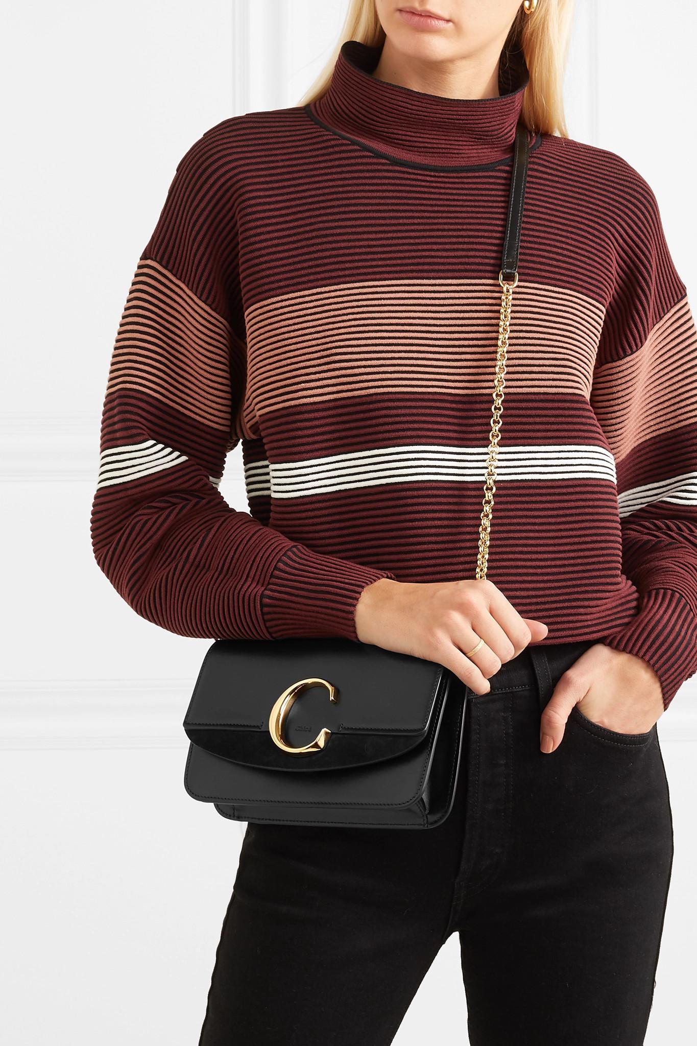 595ecef2167e2 Chloé - Black C Mini Suede-trimmed Leather Shoulder Bag - Lyst. View  fullscreen