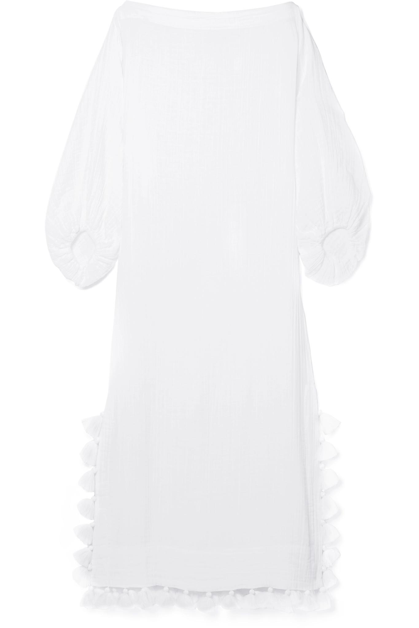 Delilah Tasseled Crinkled-voile Maxi Dress - White Rhode Resort Free Shipping Store Cheap Shop Offer Outlet Cheap Quality Outlet Very Cheap Shopping Online tdyxT