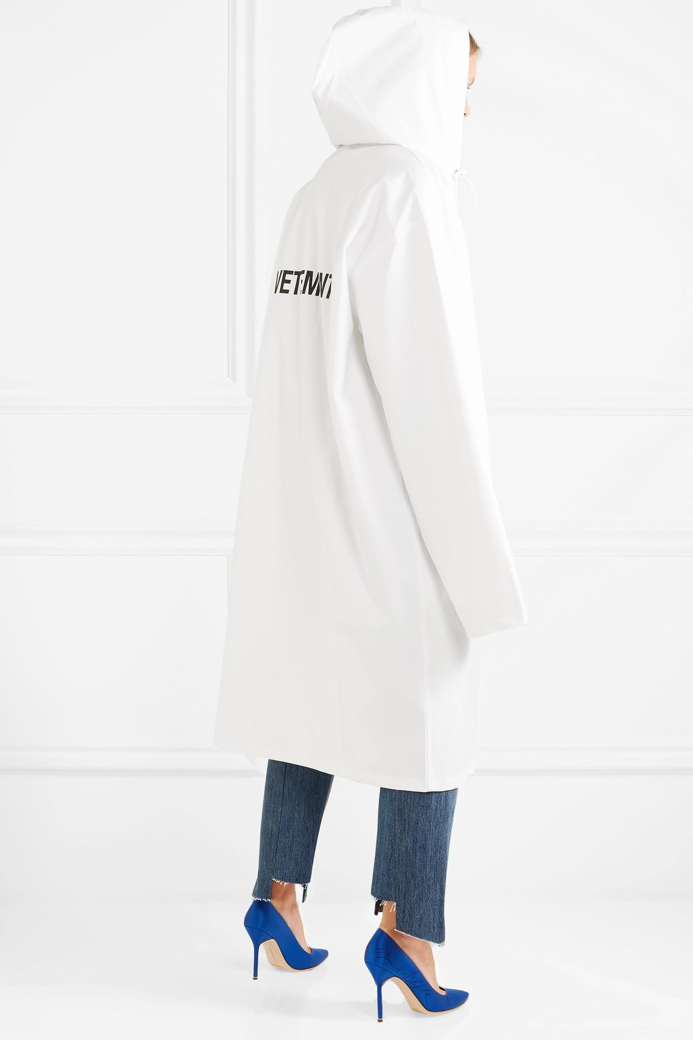Lyst Vetements Printed Pvc Coated Shell Hooded Raincoat In White