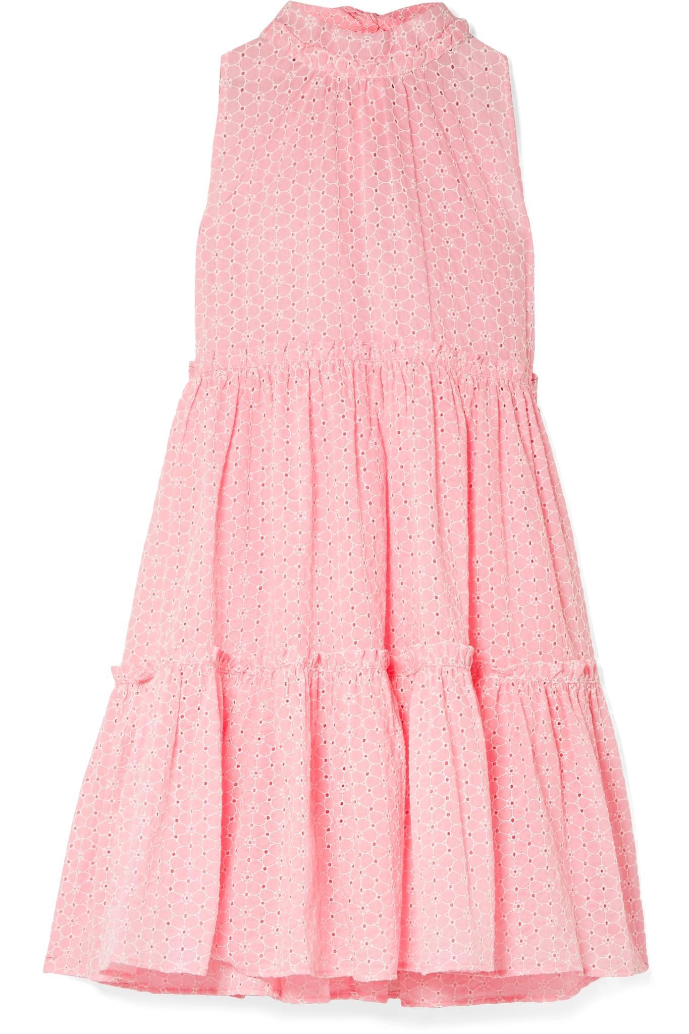 Erica Ruffled Broderie Anglaise Cotton Mini Dress - Baby pink Lisa Marie Fernandez Kjiuf2