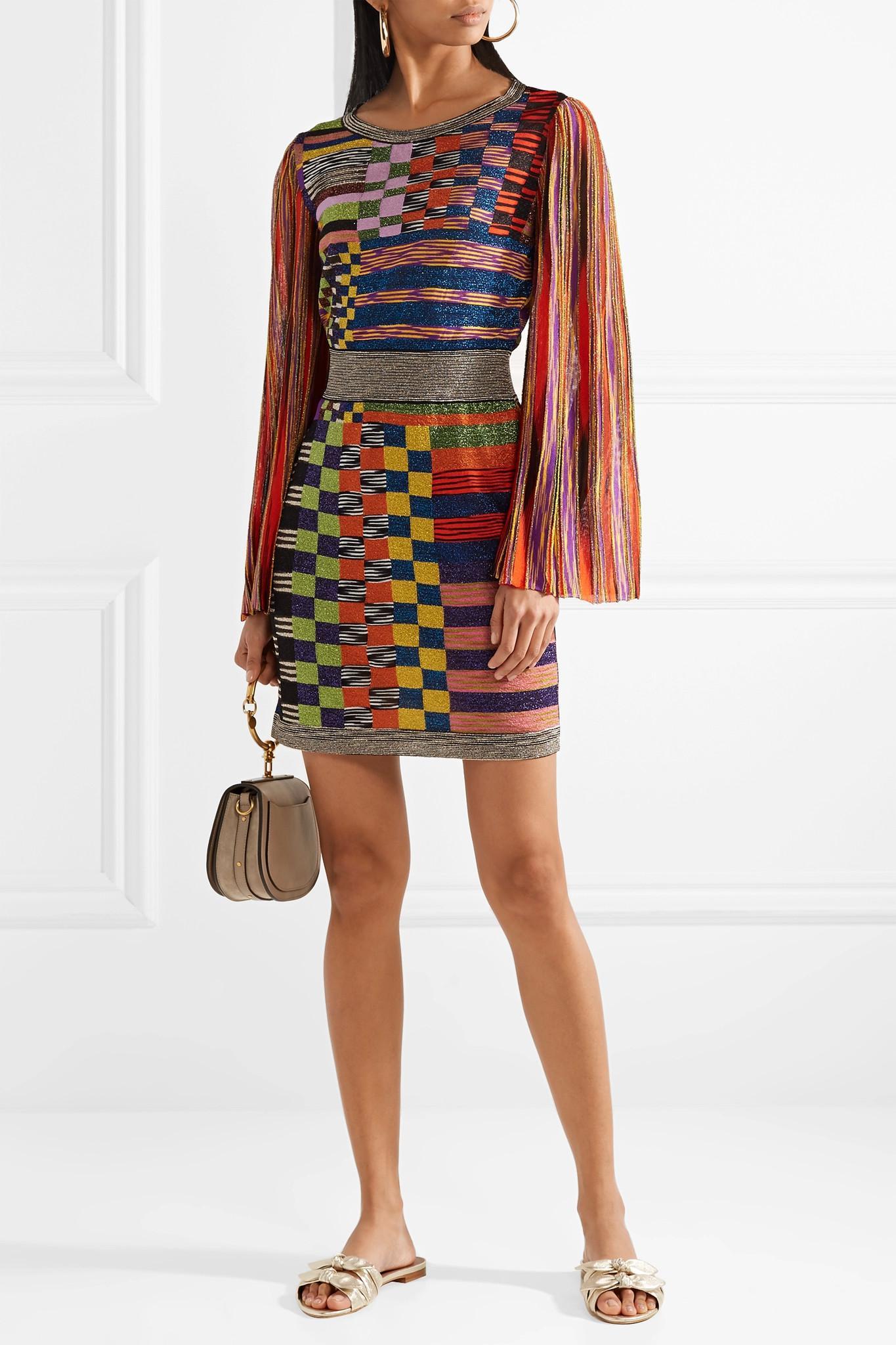 Metallic Stretch-knit Mini Dress - Orange Missoni xDMyKx