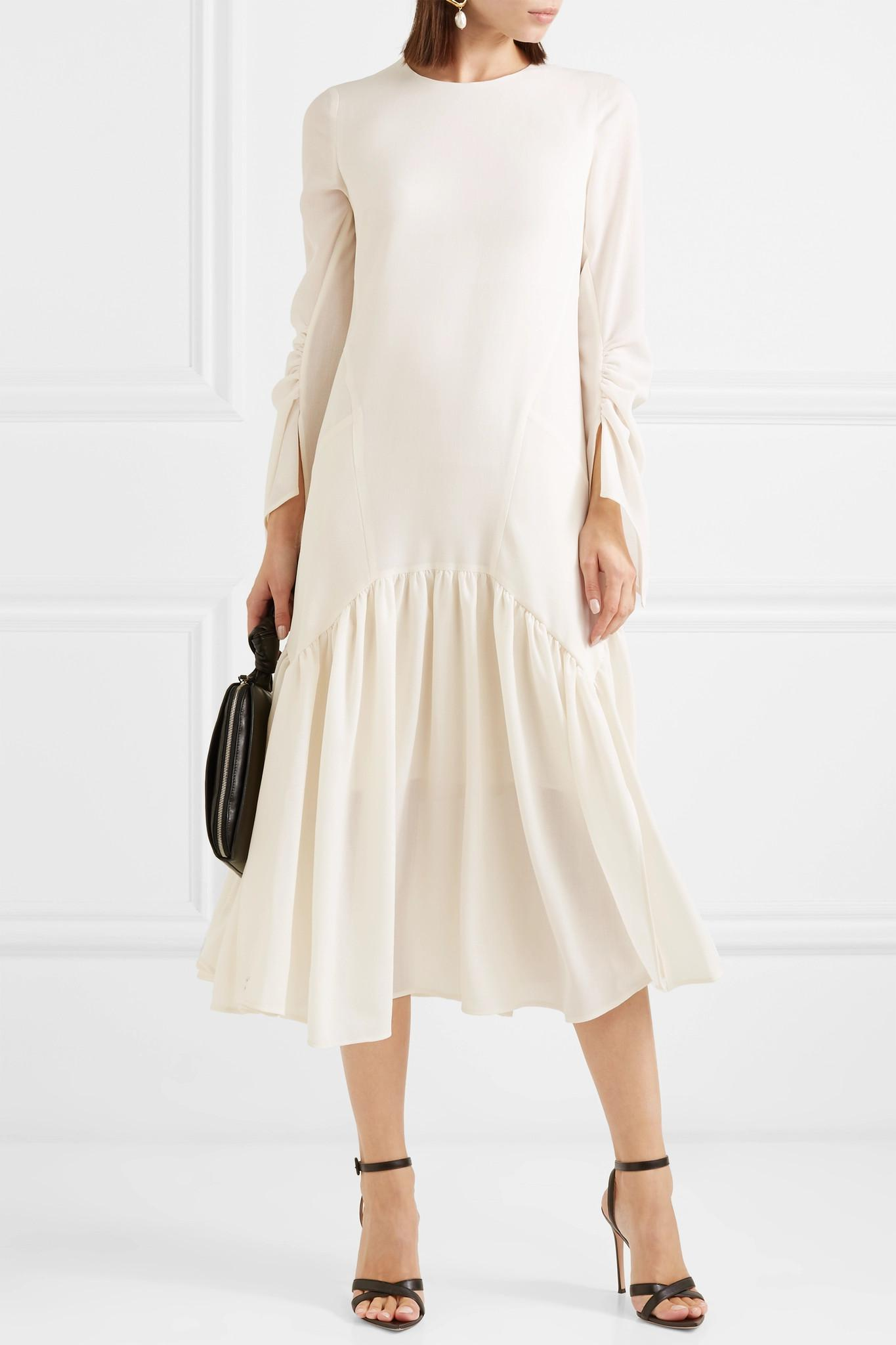00110bd04f Lyst - Akris Pleated Wool-crepe Dress in Natural