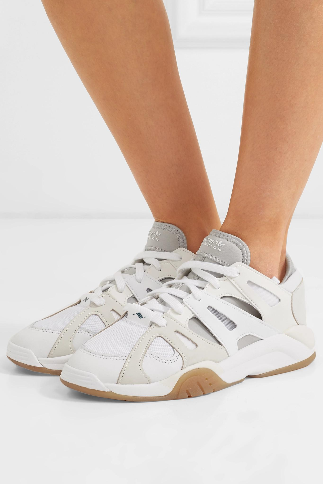 competitive price 621d4 2201d Adidas Originals - White Dimension Low Leather, Neoprene And Mesh Sneakers  - Lyst. View fullscreen