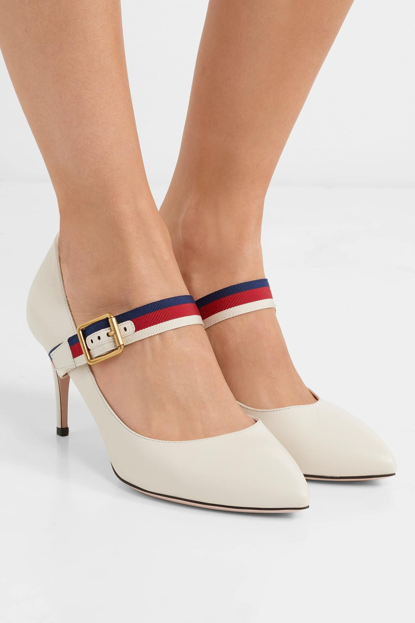 dad3da6e845 Gucci - White Sylvie Grosgrain-trimmed Leather Pumps - Lyst. View fullscreen