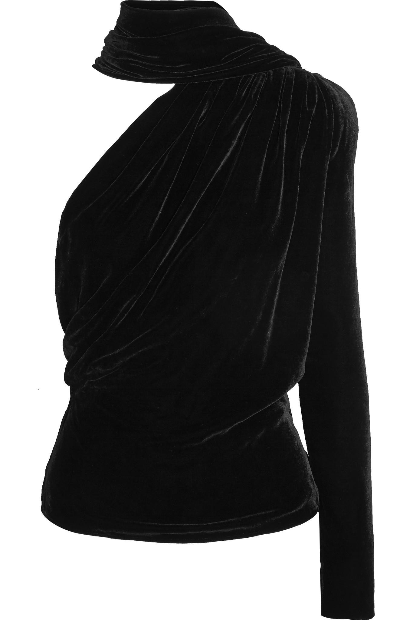 a922c43a20c1a0 Lyst - Gareth Pugh Open-back One-shoulder Velvet Top in Black