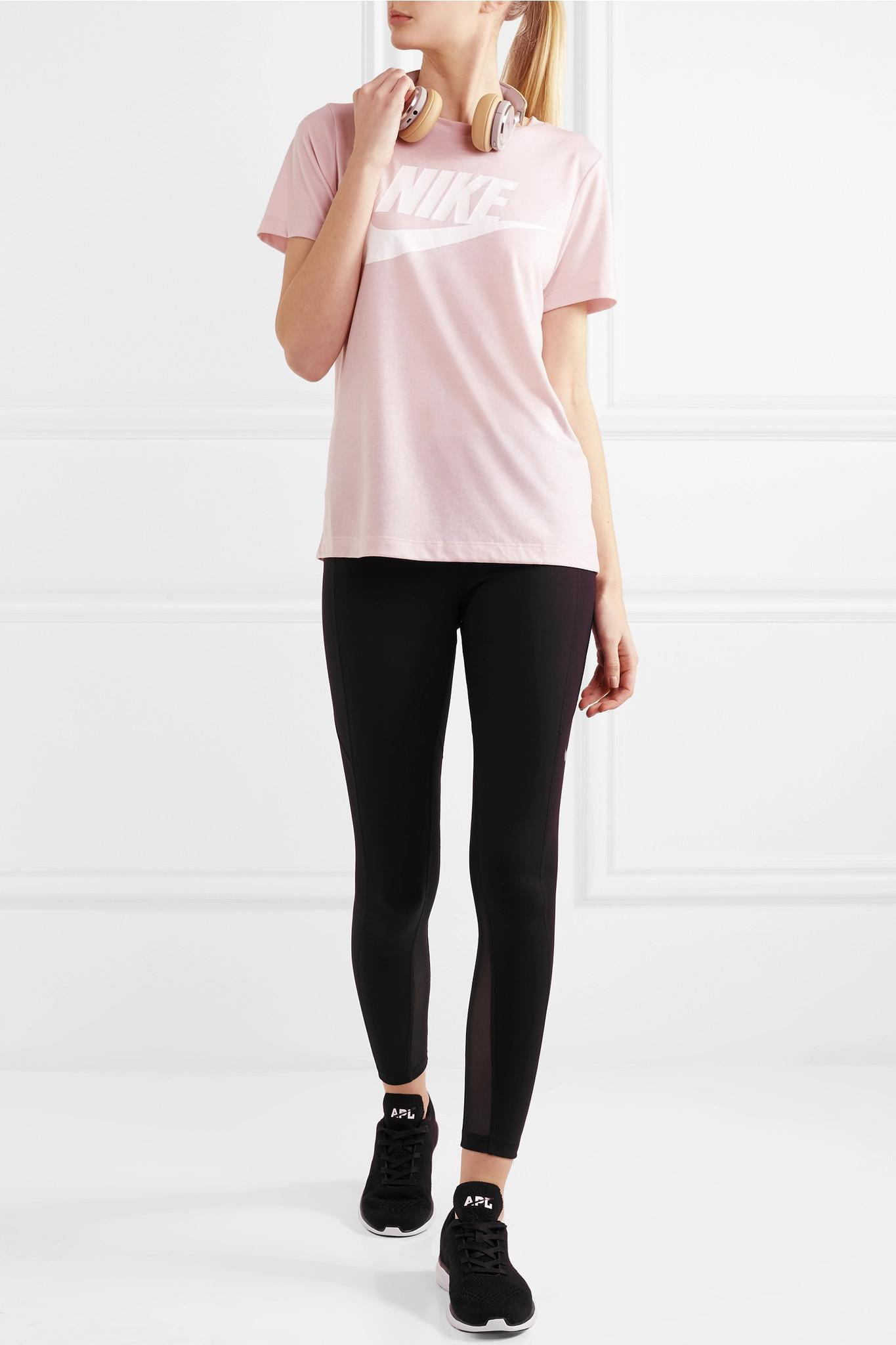 04aeba67afe0 Lyst - Nike Essential Printed Stretch-jersey T-shirt in Pink