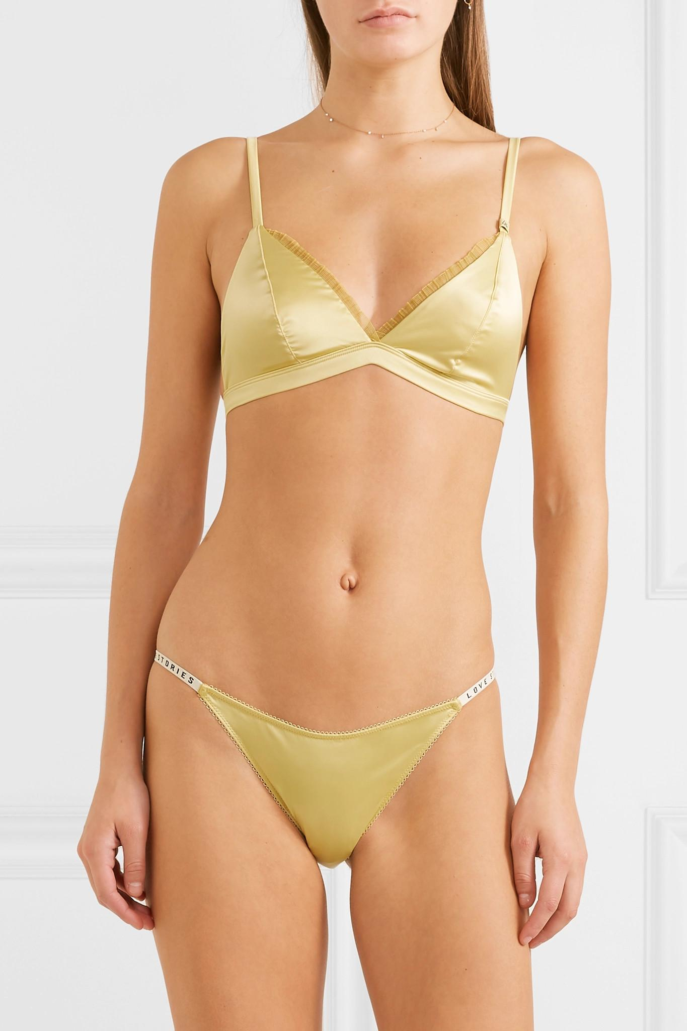 601c143aec LoveStories - Multicolor Darling Lace-trimmed Stretch-satin Soft-cup Triangle  Bra -. View fullscreen