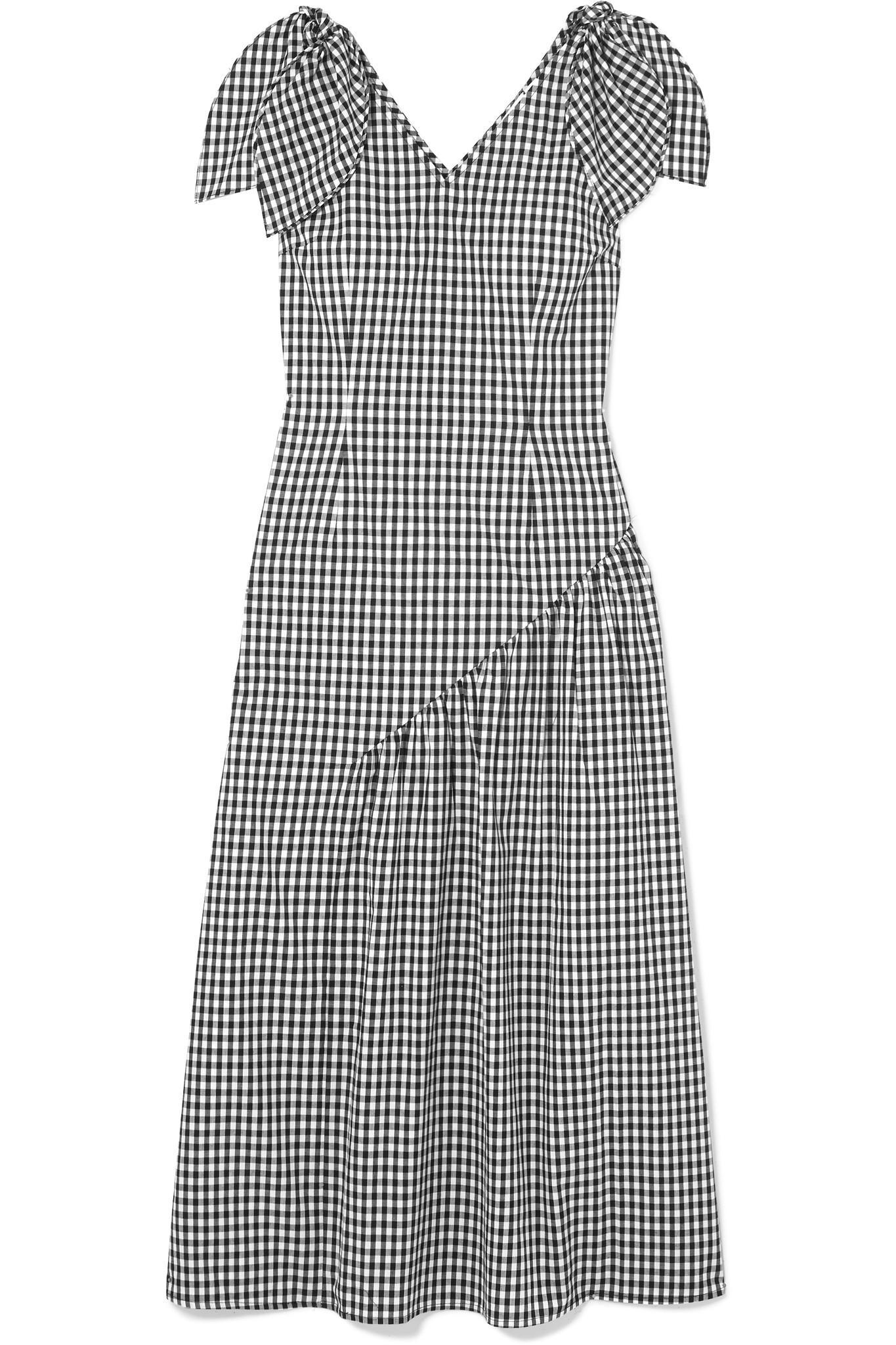 Lily Bow-embellished Gingham Cotton Midi Dress - Black Rejina Pyo xkR6r