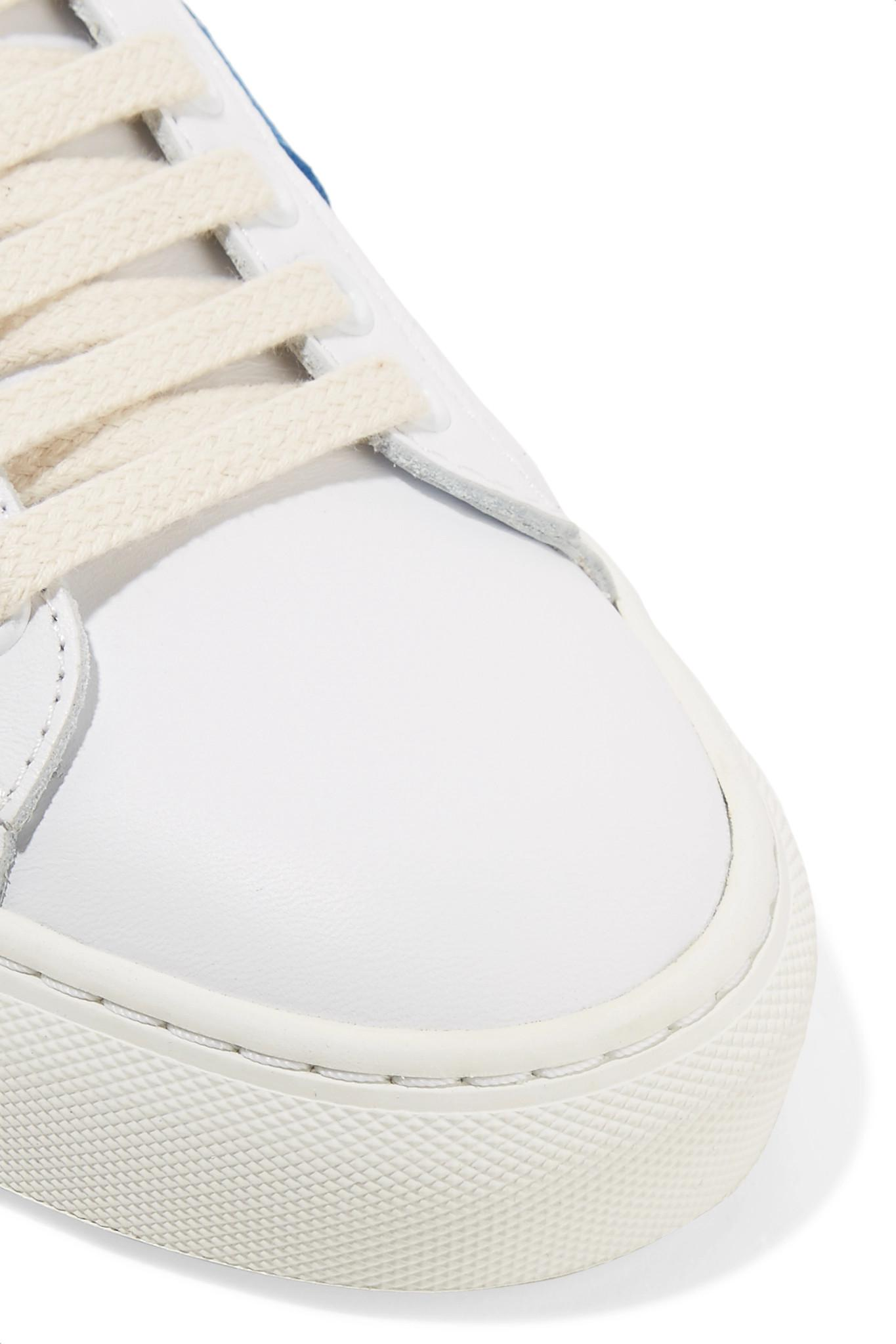 Discount Footaction Striped Suede And Leather Sneakers - White Mira Mikati Buy Best Shop Offer Cheap Online Cheap Footlocker Pictures Manchester Great Sale Cheap Price gUcSP2g5