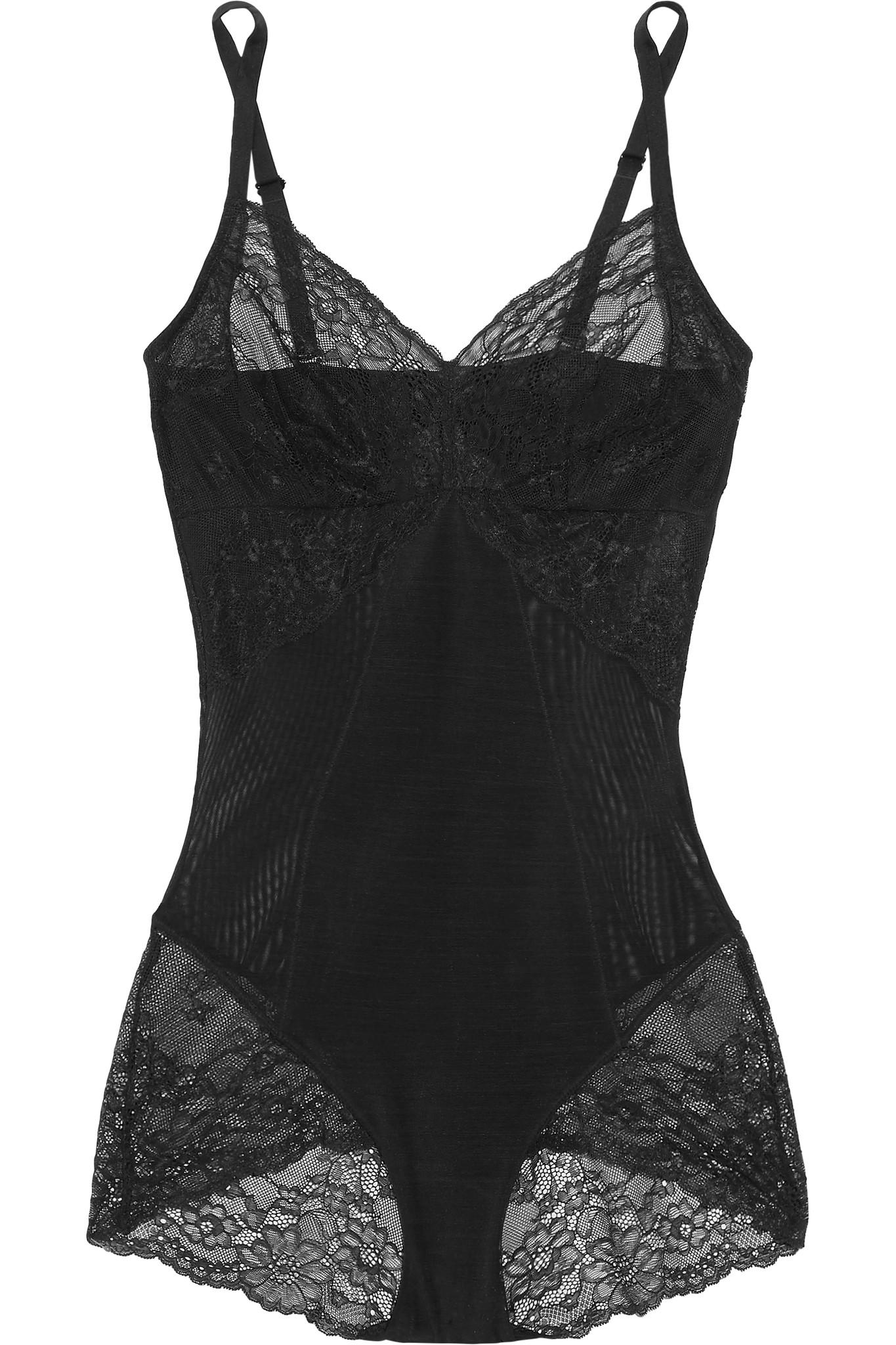 3705caf056 Lyst - Spanx Spotlight Stretch-tulle And Lace Bodysuit in Black ...