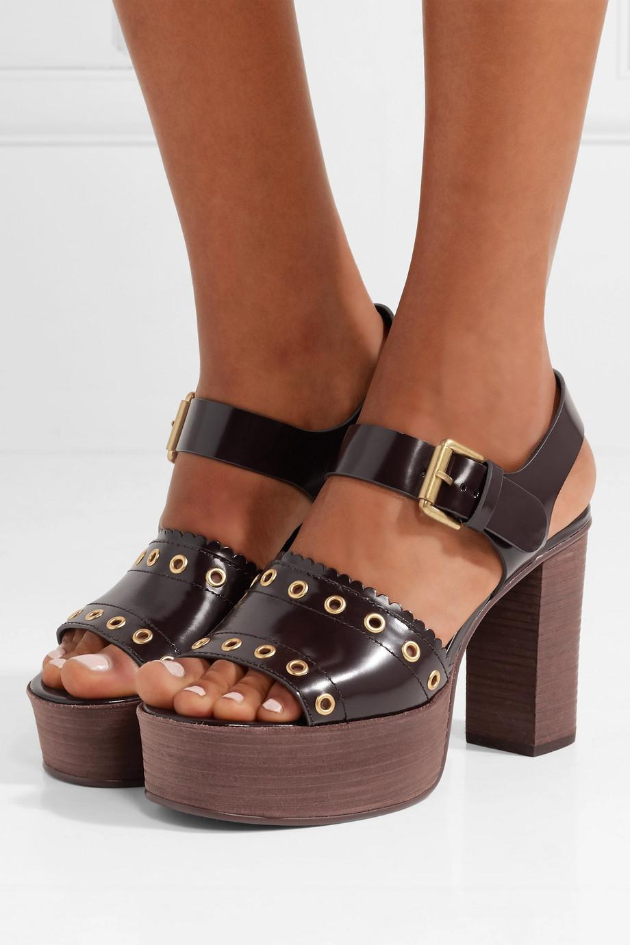 Nora Eyelet-embellished Glossed-leather Platform Sandals - Dark brown See By Chloé AIthH29