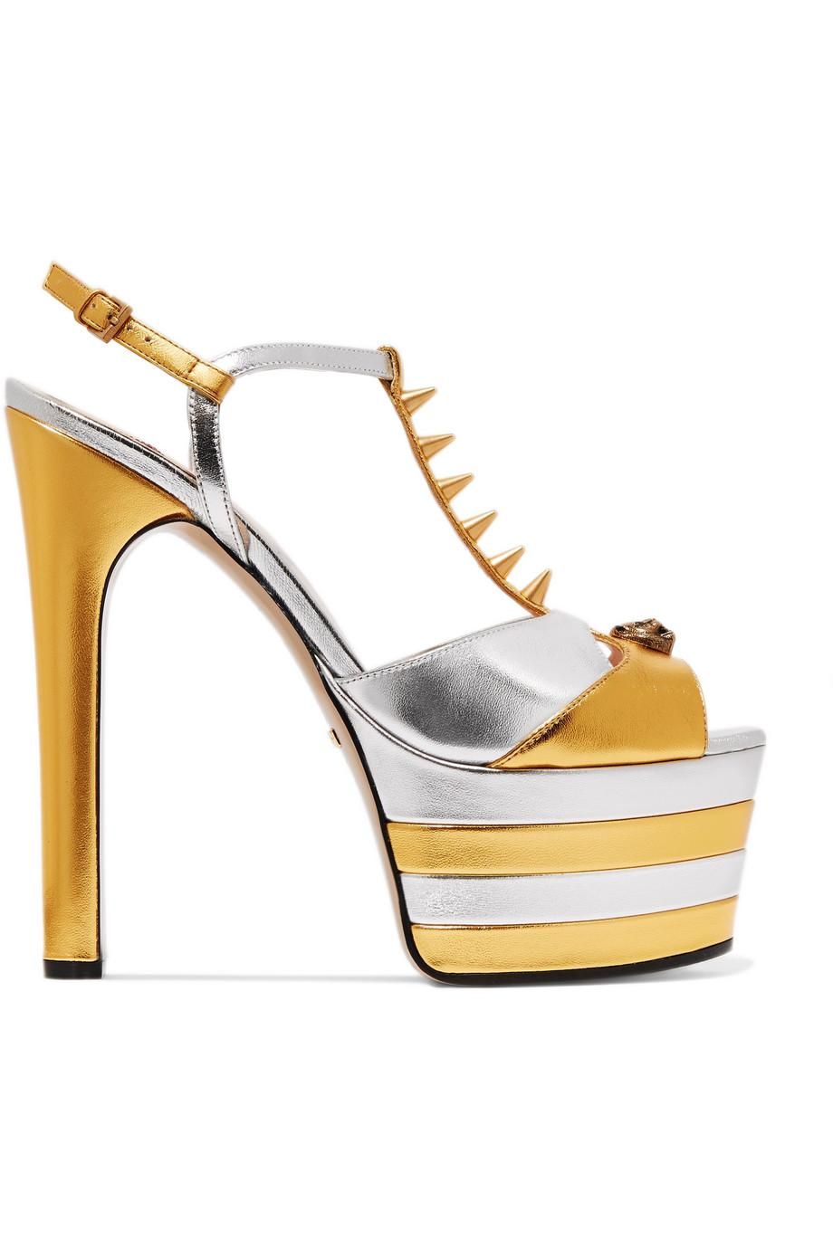 1587aee53556 Lyst - Gucci Studded Two-tone Metallic Leather Platform Sandals in ...