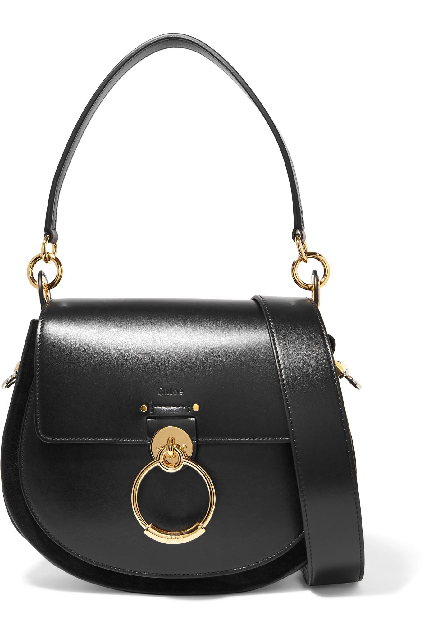 3fd6fc639e1c Chloé - Black Tess Large Leather And Suede Shoulder Bag - Lyst. View  fullscreen
