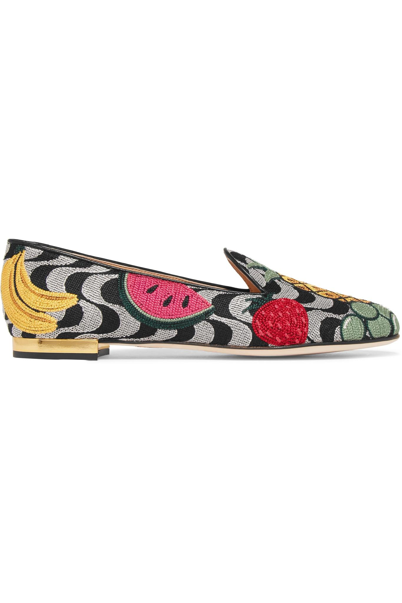 Fruit Salad Embroidered Canvas Slippers - Gray Charlotte Olympia 73qdpQG