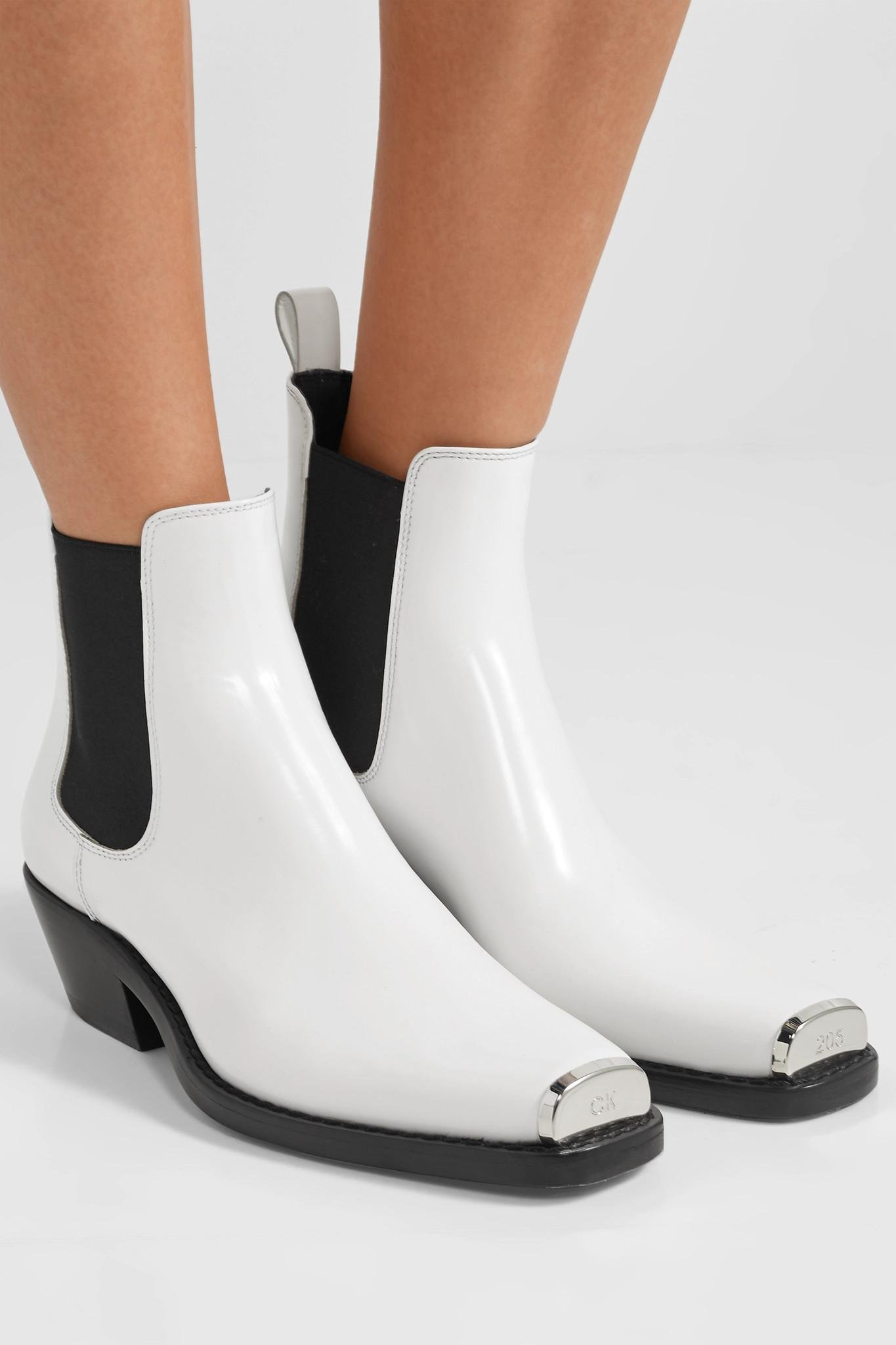 b1fa7a58264 CALVIN KLEIN 205W39NYC - White Claire Metal-trimmed Glossed-leather Ankle  Boots - Lyst. View fullscreen
