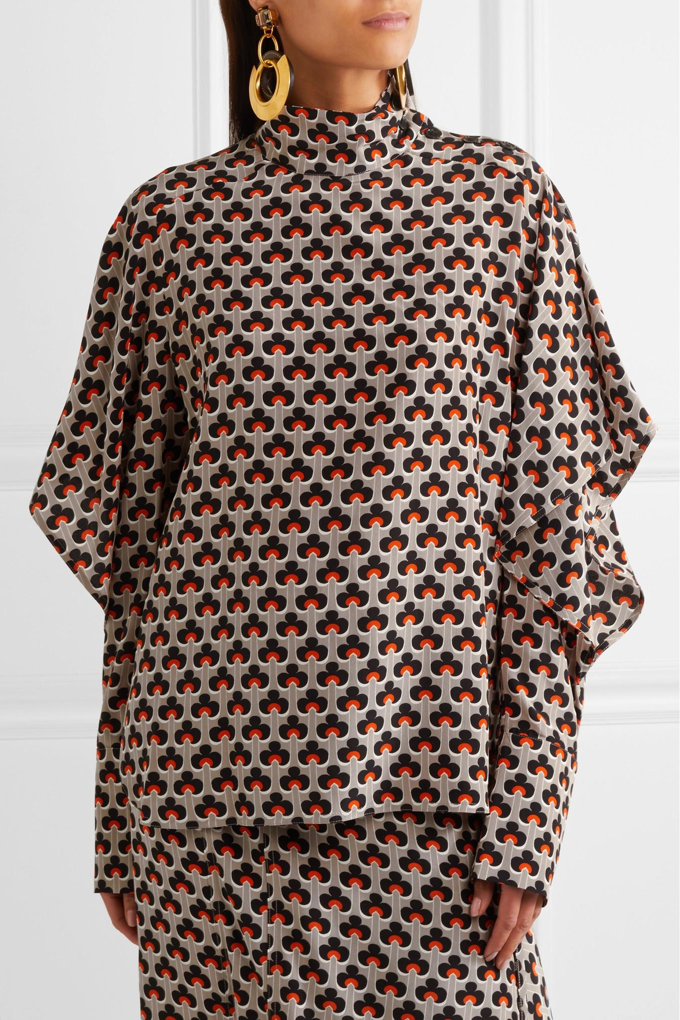 Marni Printed Silk Top Hurry Up Latest Collections Cheap Online S1XblYU