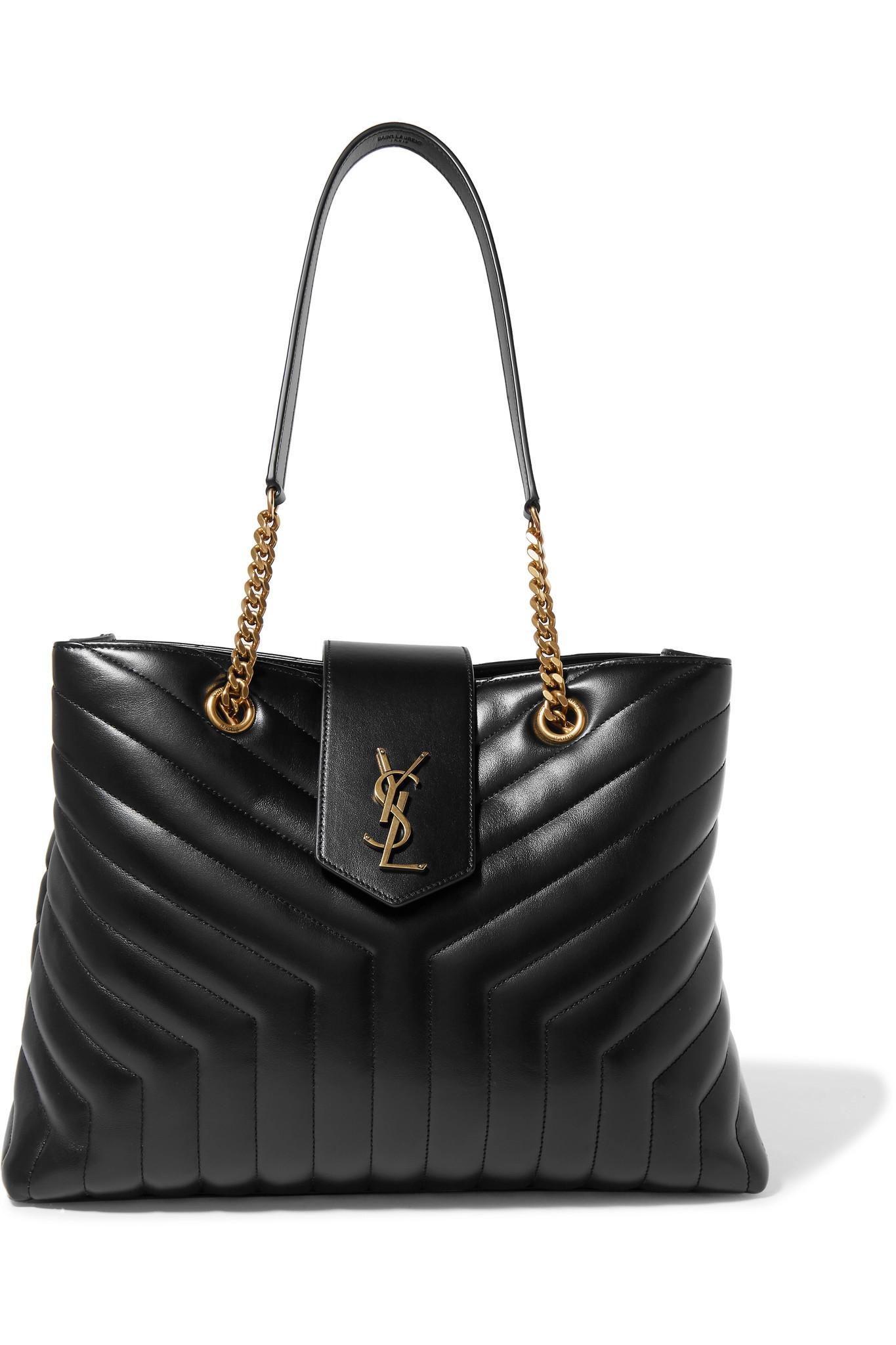 Lyst - Saint Laurent Loulou Large Quilted Leather Shoulder Bag in Black c1af4dd09b1b4
