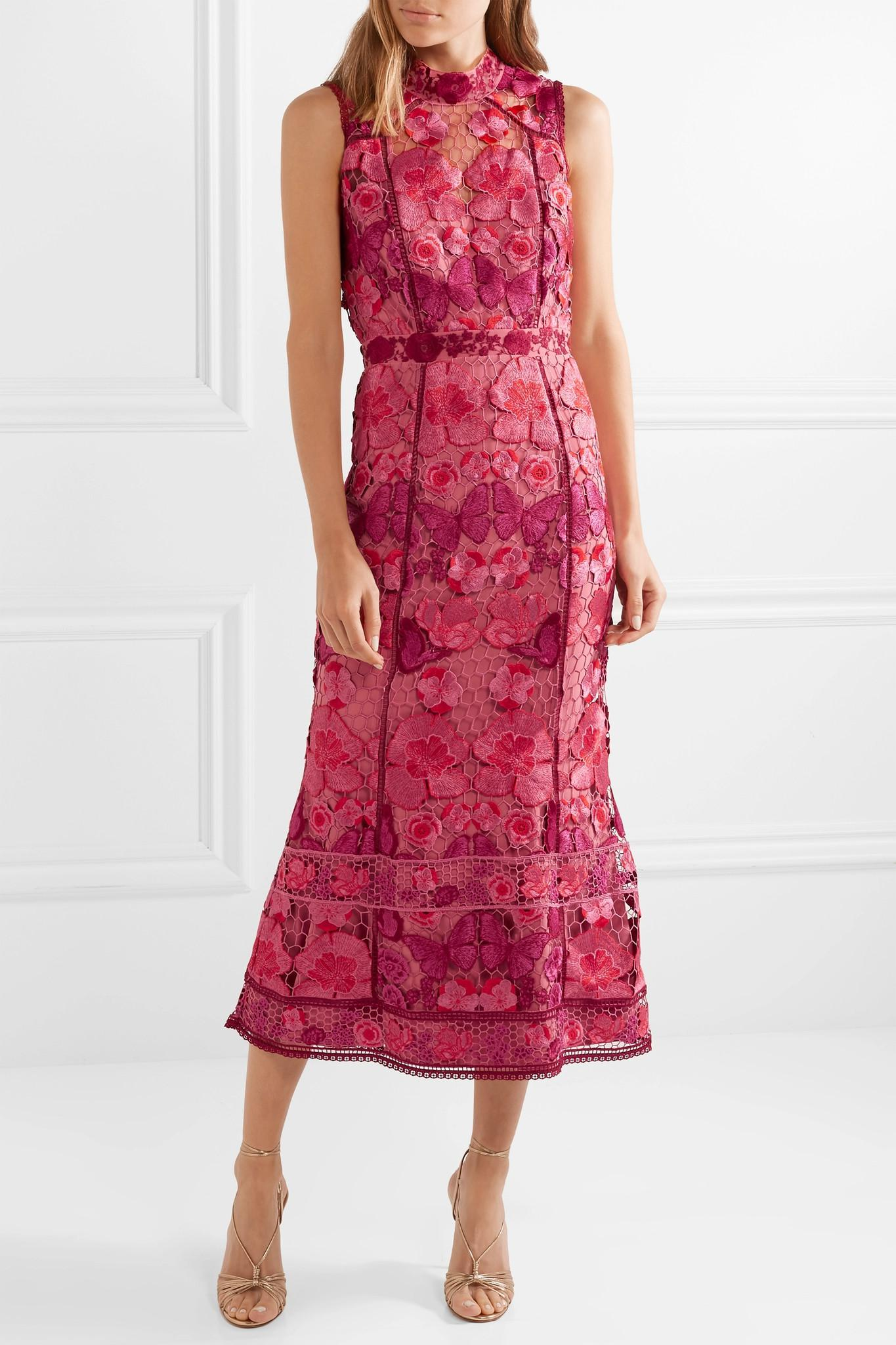a8d9a1cf276c4 Lyst - Marchesa notte Embroidered Guipure Lace Midi Dress in Pink