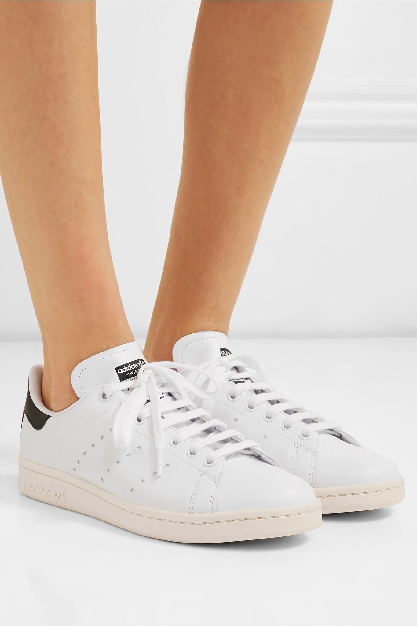 76aa79c8401e Stella McCartney - White + Adidas Originals Stan Smith Grosgrain-trimmed Faux  Leather Sneakers -. View fullscreen