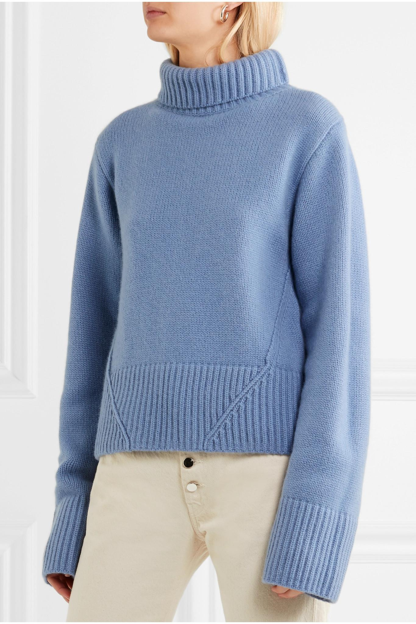 Khaite Wallis Cashmere Turtleneck Sweater in Blue | Lyst