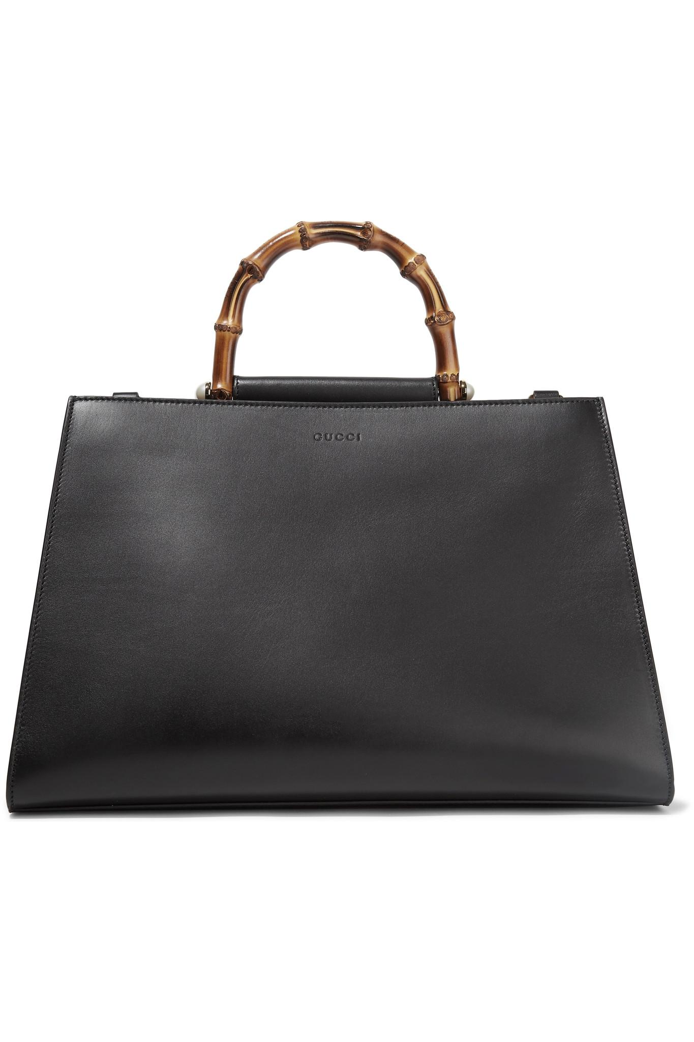 acd57b3d476 Gucci Nymphaea Bamboo Large Two-tone Leather Tote in Black - Lyst