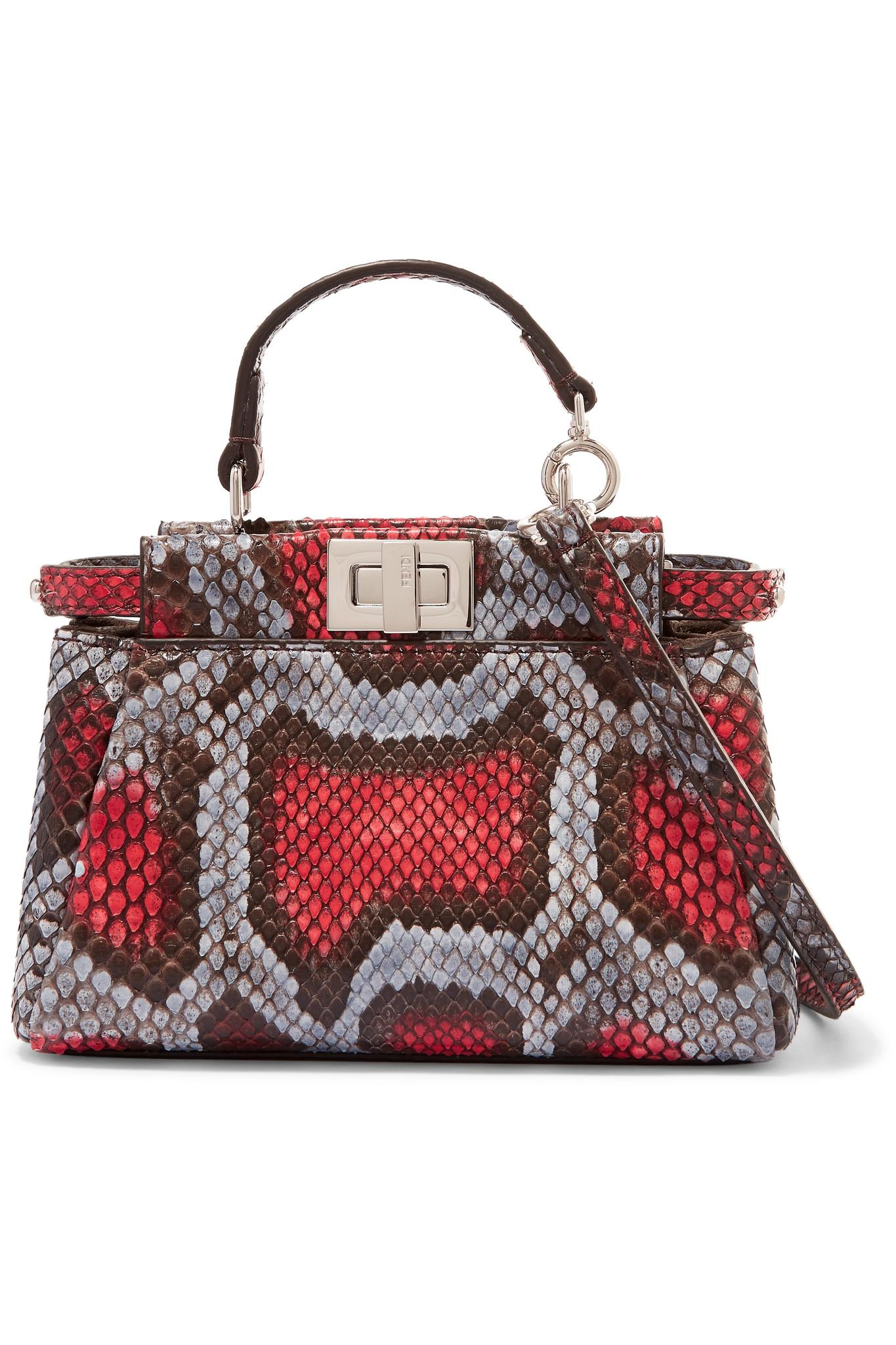 Lyst - Fendi Peekaboo Micro Python Shoulder Bag in Red c038e7f83b042