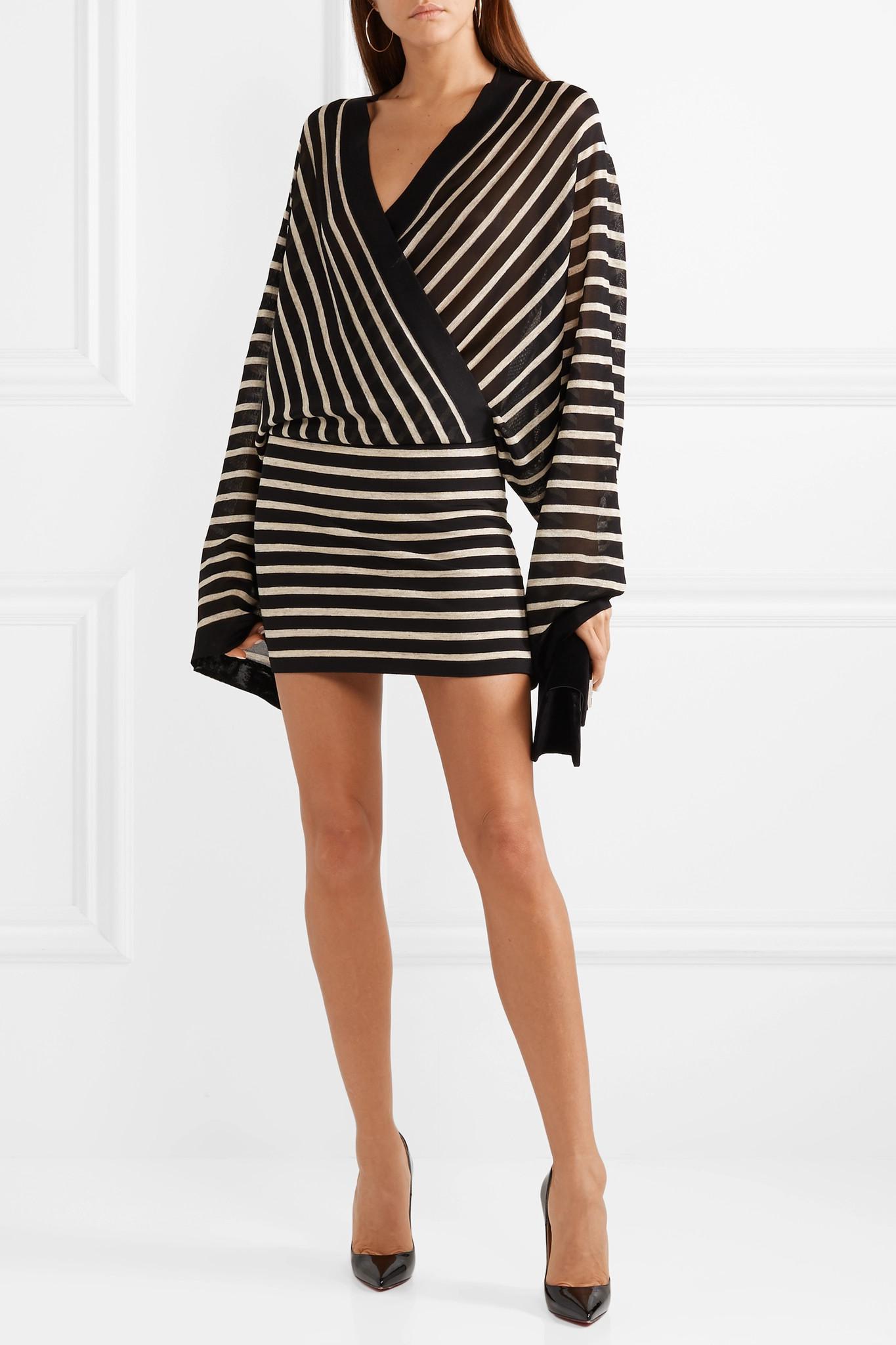 db5c527d Balmain - Black Wrap-effect Metallic Striped Stretch-jersey Mini Dress -  Lyst. View fullscreen