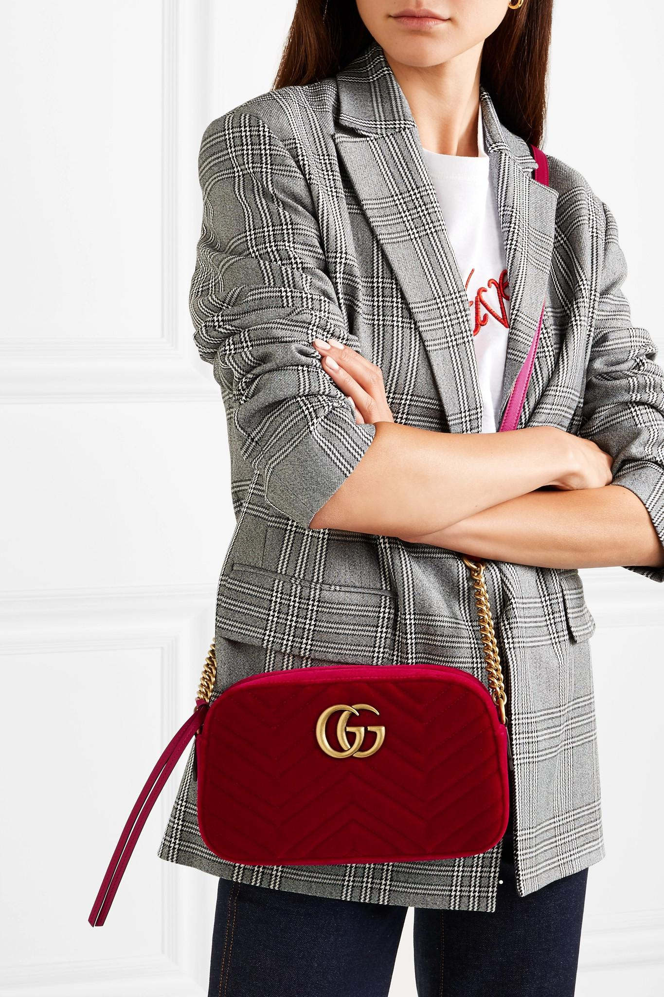 e164f78335e Gucci - Red Gg Marmont Small Quilted Velvet Shoulder Bag - Lyst. View  fullscreen