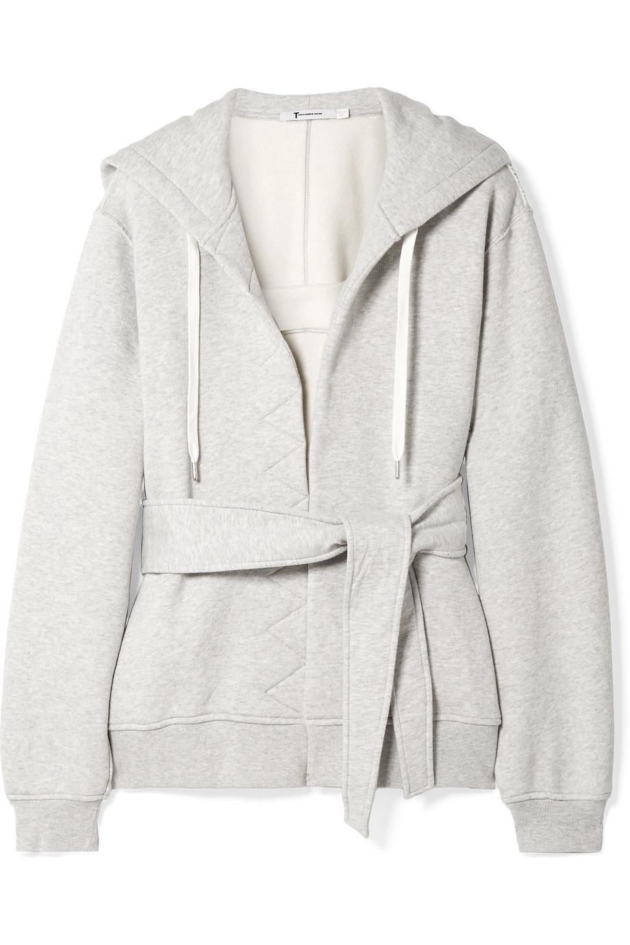 8d1af4ffbc56 Lyst - T By Alexander Wang Belted Cotton-fleece Hooded Top in Gray