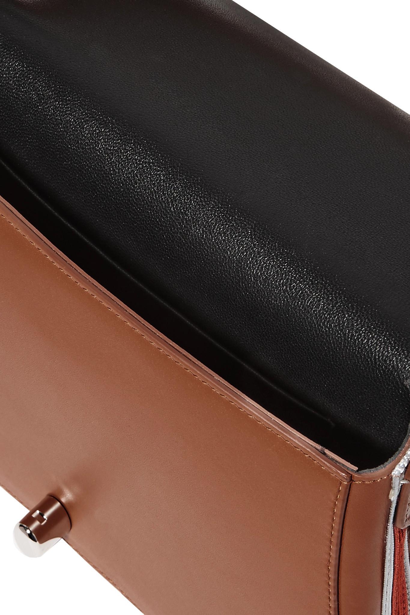 70a16ca07e CALVIN KLEIN 205W39NYC - Brown Bonnie Grosgrain-trimmed Leather Shoulder Bag  - Lyst. View fullscreen