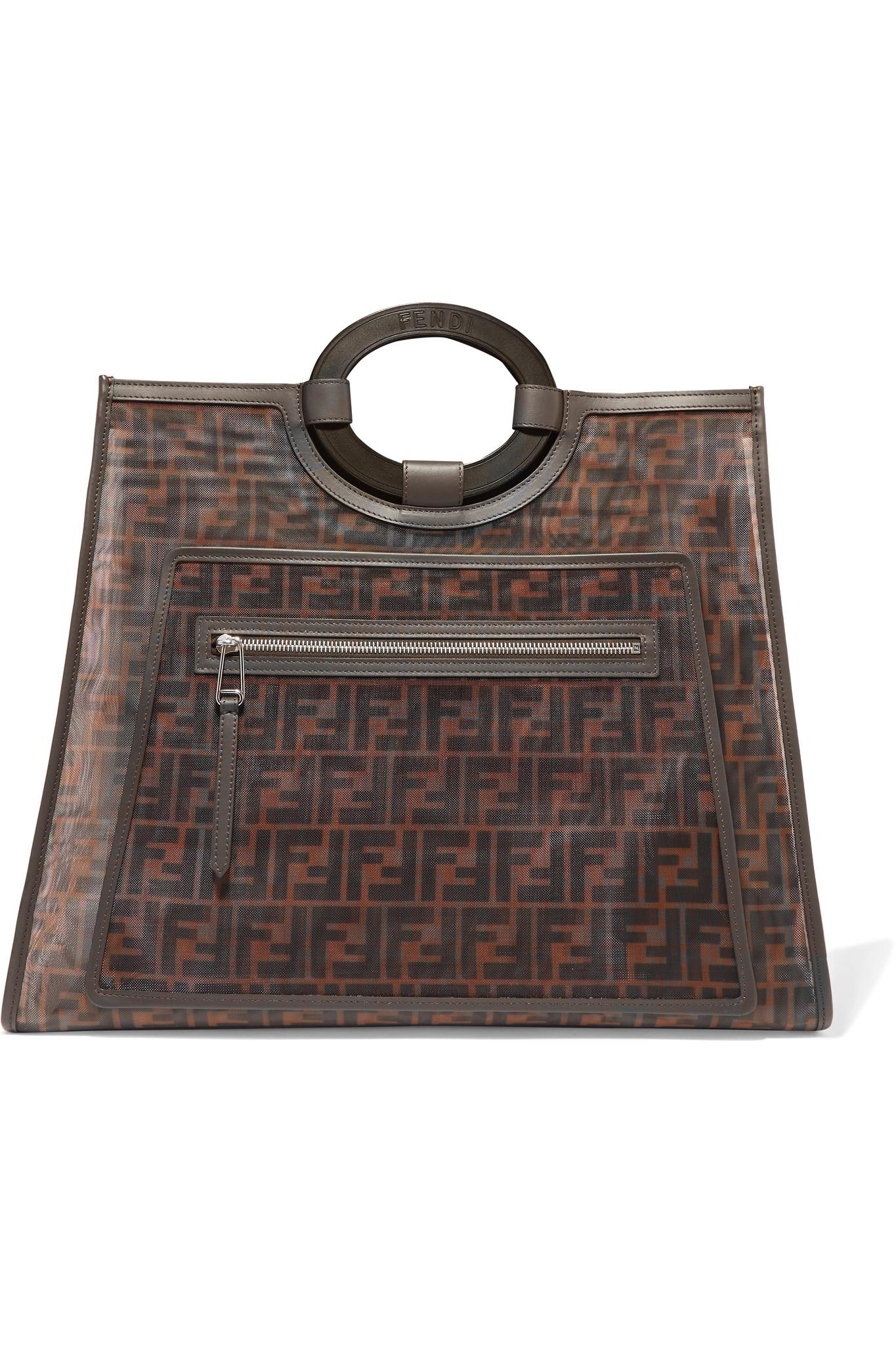 caf102c42c57 Fendi Runaway Large Leather-trimmed Printed Mesh Tote in Brown - Lyst