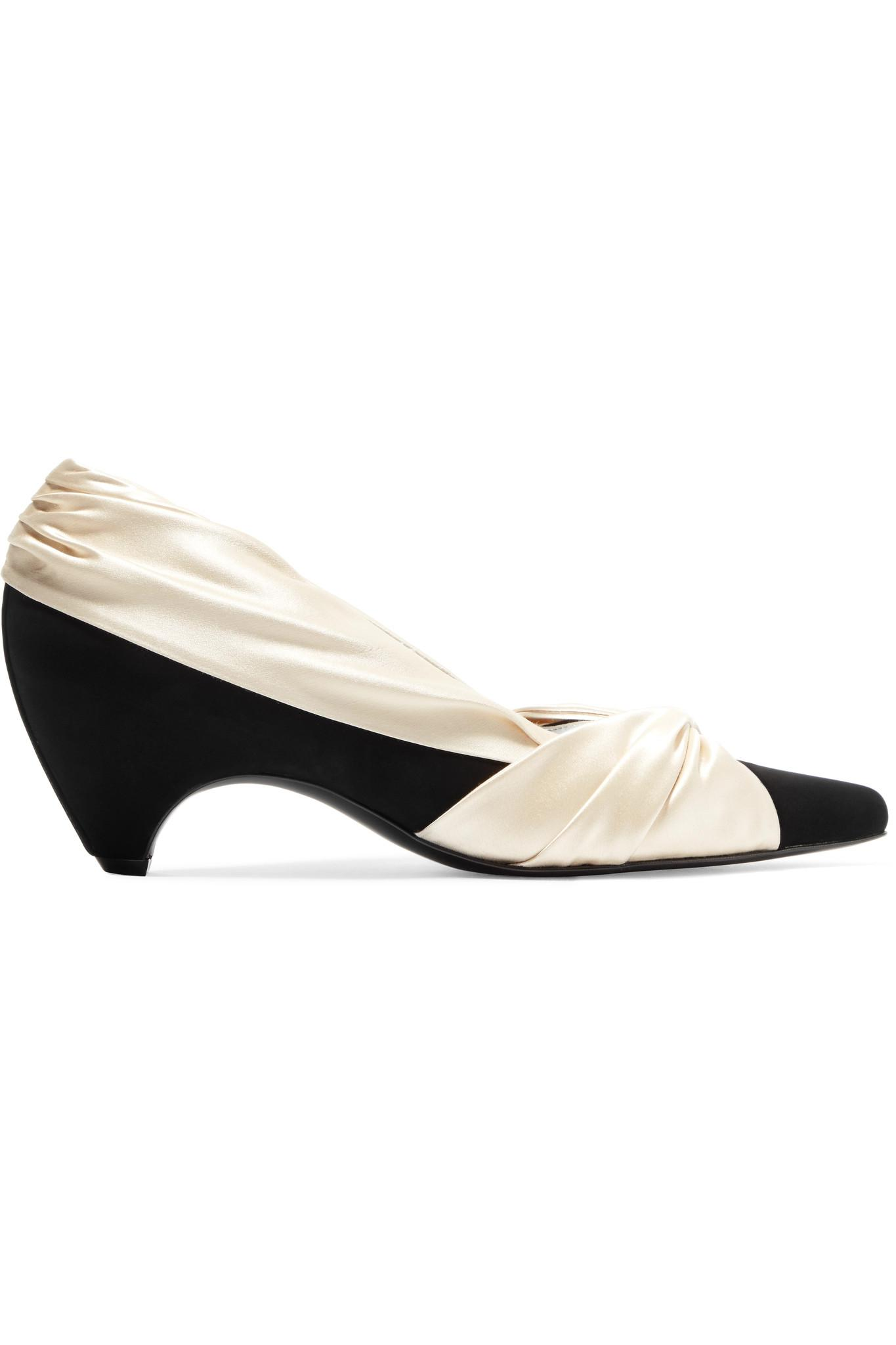 Buy Cheap Get Authentic 2018 New Online Stella McCartney Two-tone Knotted Satin And Faux Suede Pumps - Cream 2018 Discount Outlet Locations v8SSn