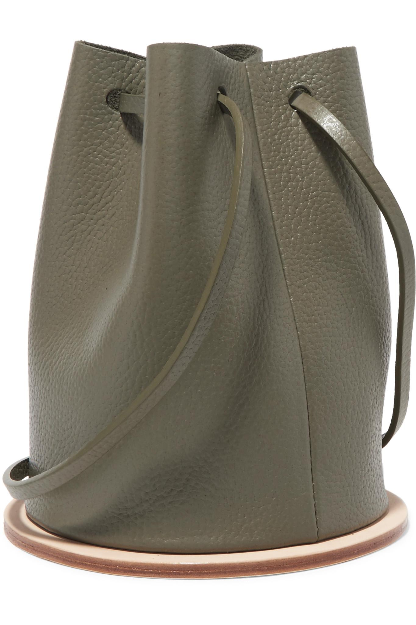 Disc Textured-leather Bucket Bag - Army green Building Block aCLVPT9SPZ